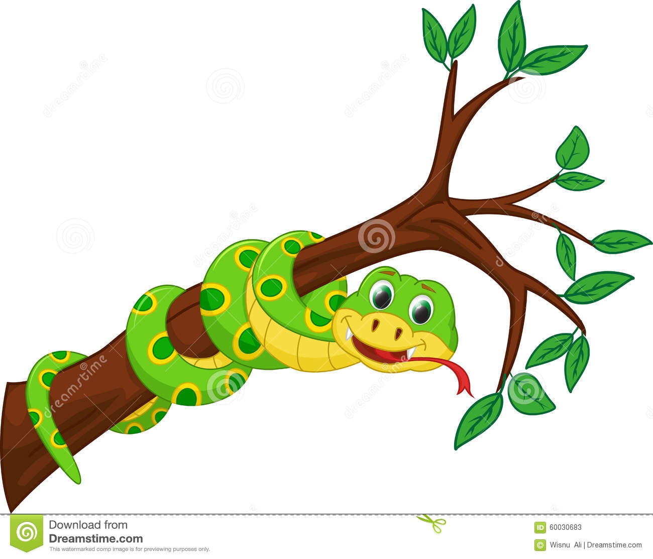 Illustration of cute snake cartoon on branch isolated on white.