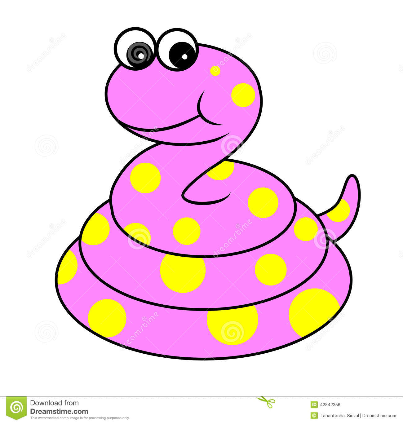 Snake Cartoon Illustration Of Cute Pink