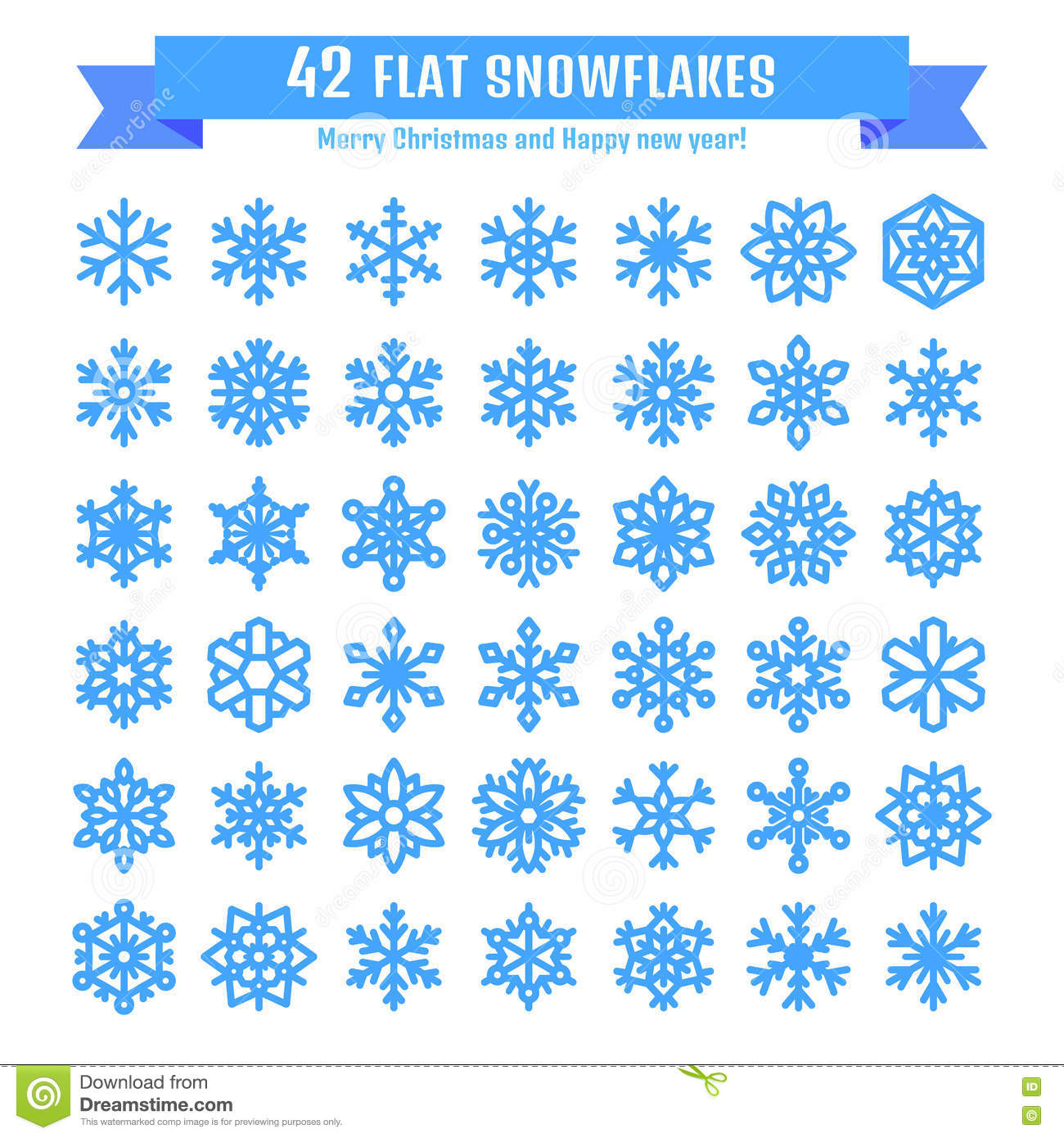 Cute snowflake collection isolated on white background. Flat snow icon, snow flakes silhouette. Nice snowflakes for christmas