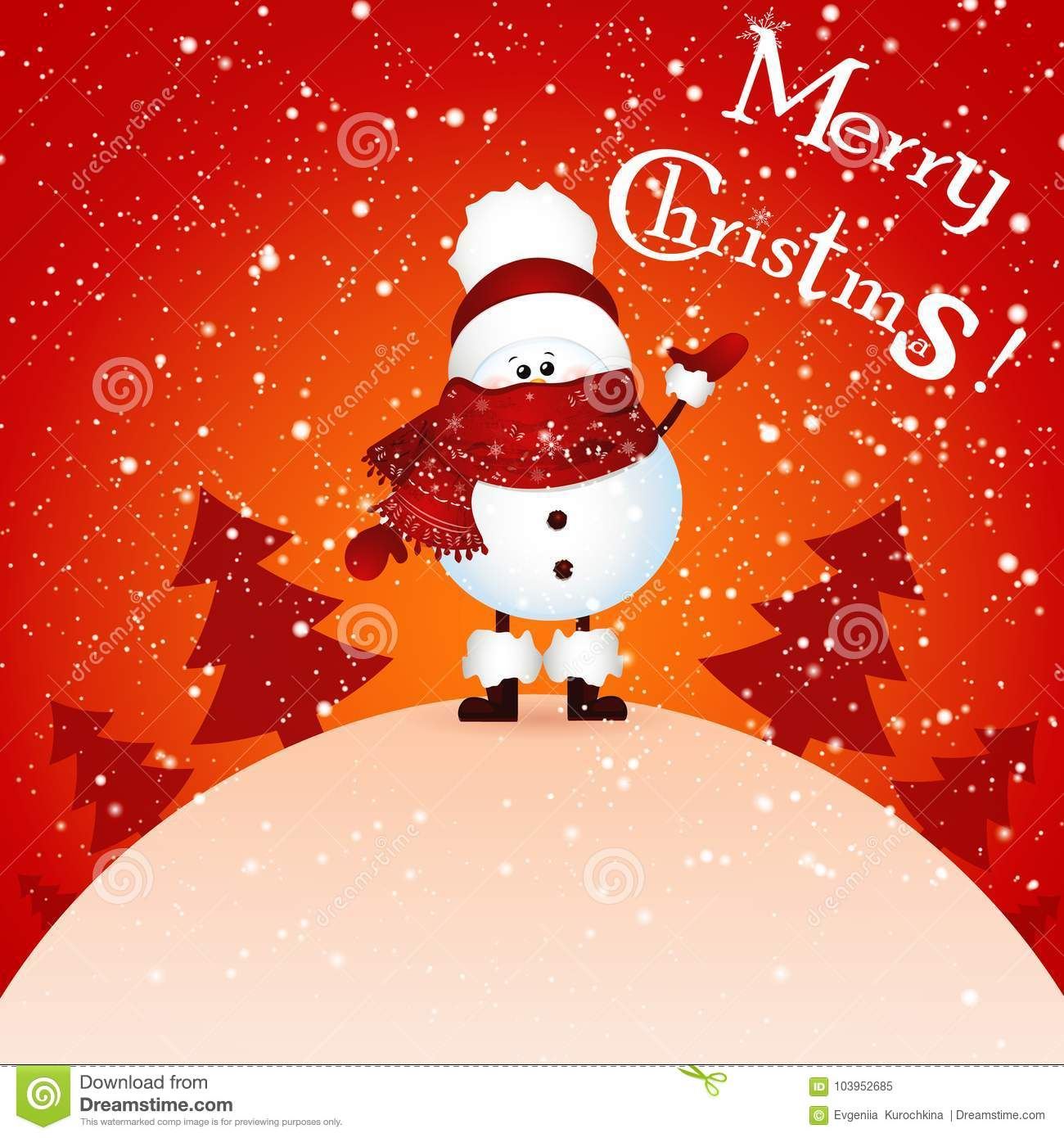 cute snowman holds banner merry christmas and happy new year and christmas tree stock illustration illustration of character scene 103952685 https www dreamstime com cute snowman holds banner merry christmas happy new year tree white background world greeting card cartoon illustration image103952685