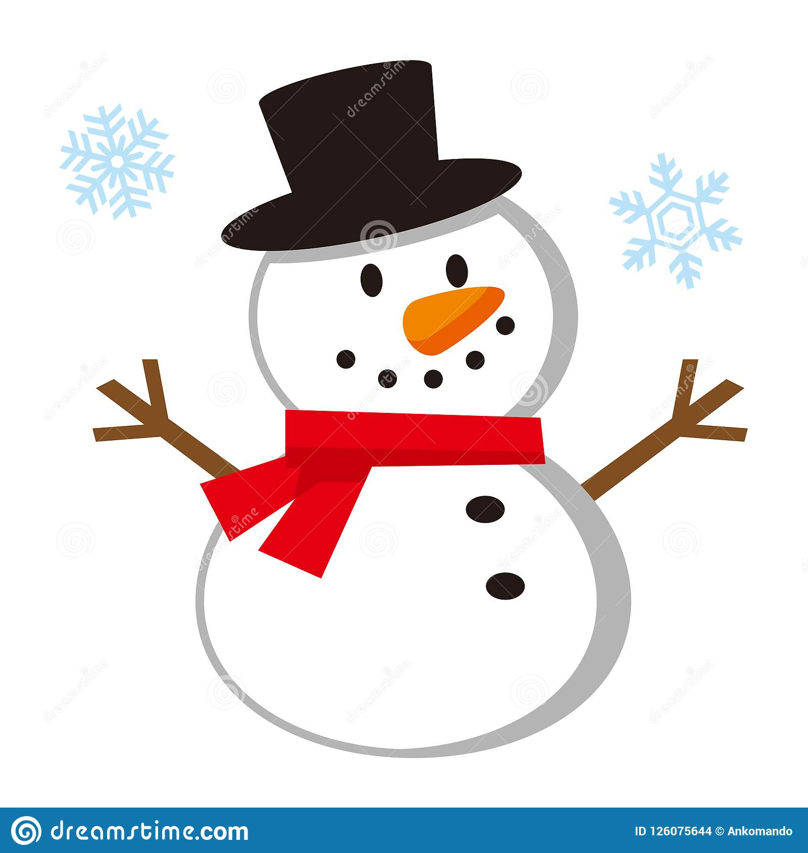 Cute Snowman Illustration Stock Vector Illustration Of Design 126075644