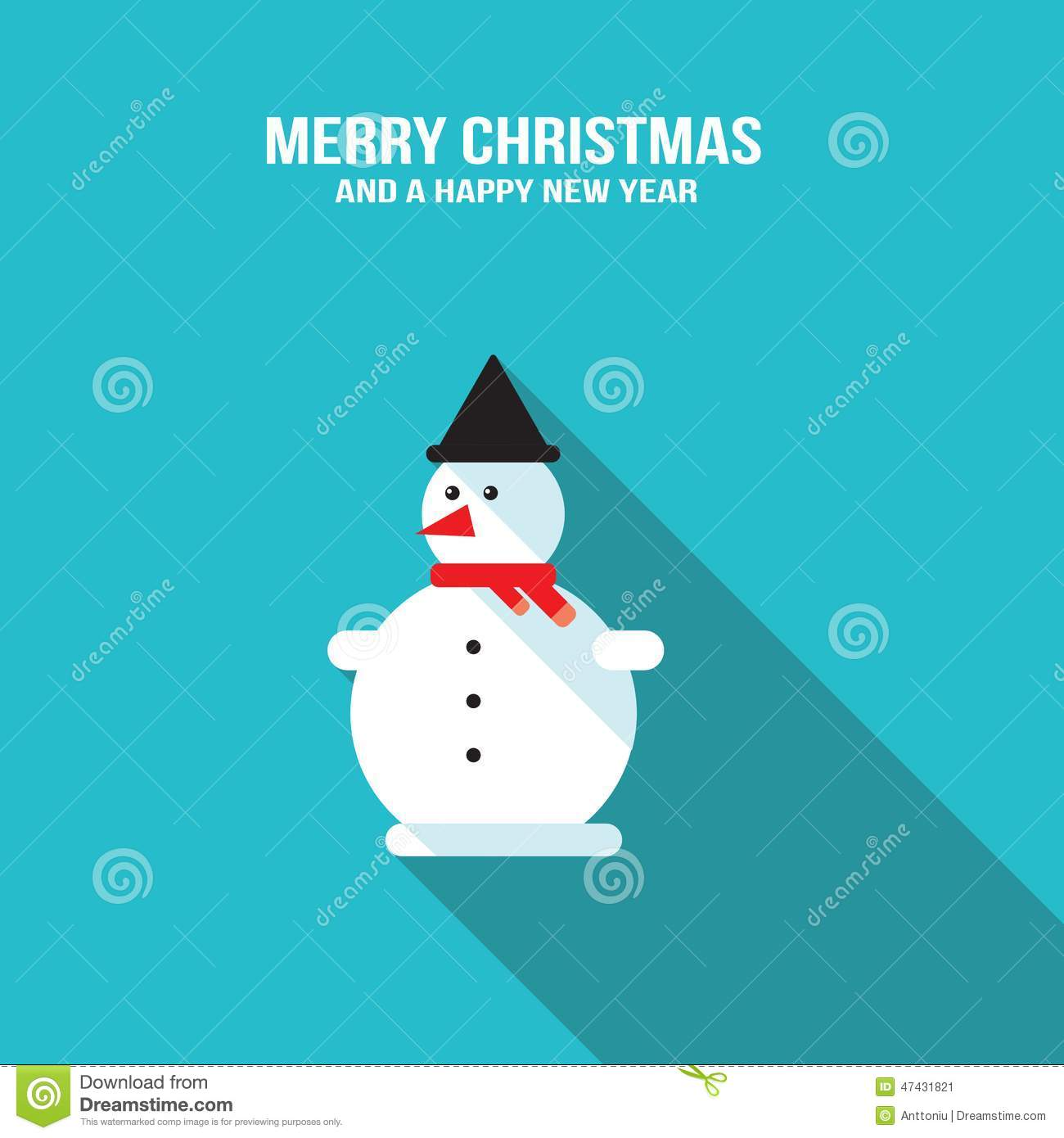 Cute Snowman Merry Christmas And Happy New Year Greeting Card Stock ...
