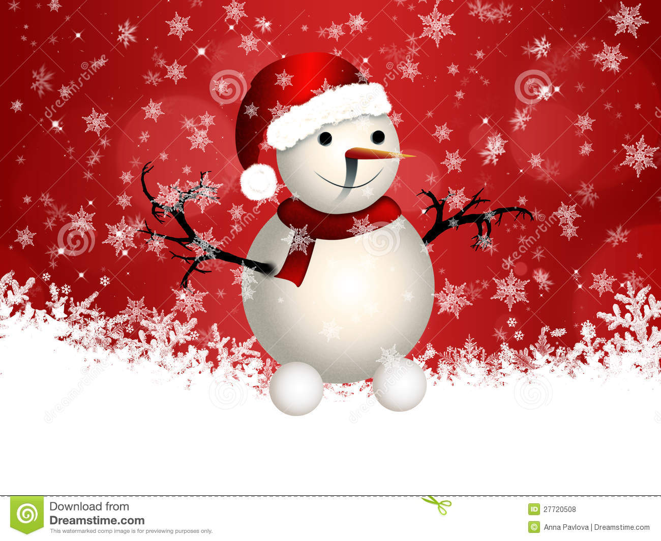 cute snowman on red background stock illustration