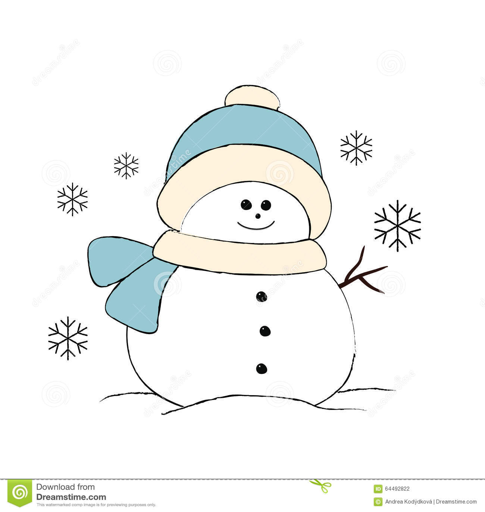 Cute Snowman Simple Illustration On White Stock Vector