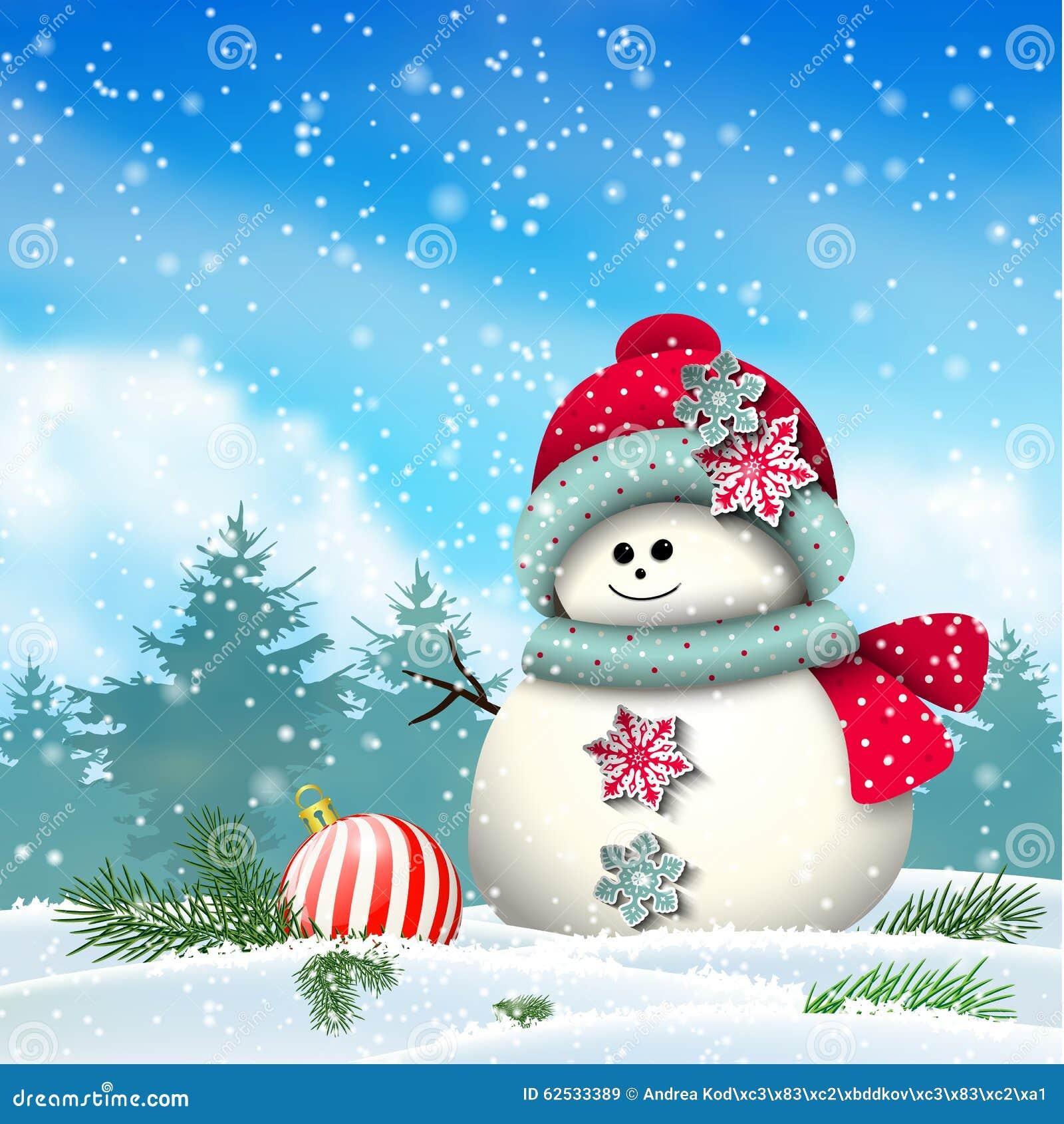 Cute Snowman In Snowy Winter Landscape Stock Vector