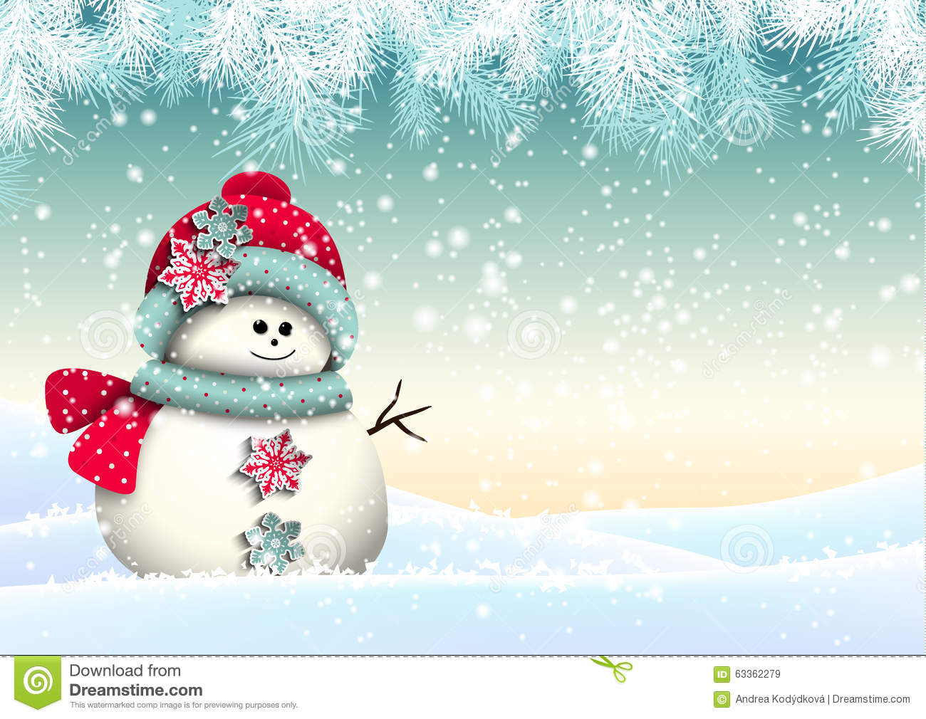 Cute Snowman With In Winter Landscape Stock Vector Image