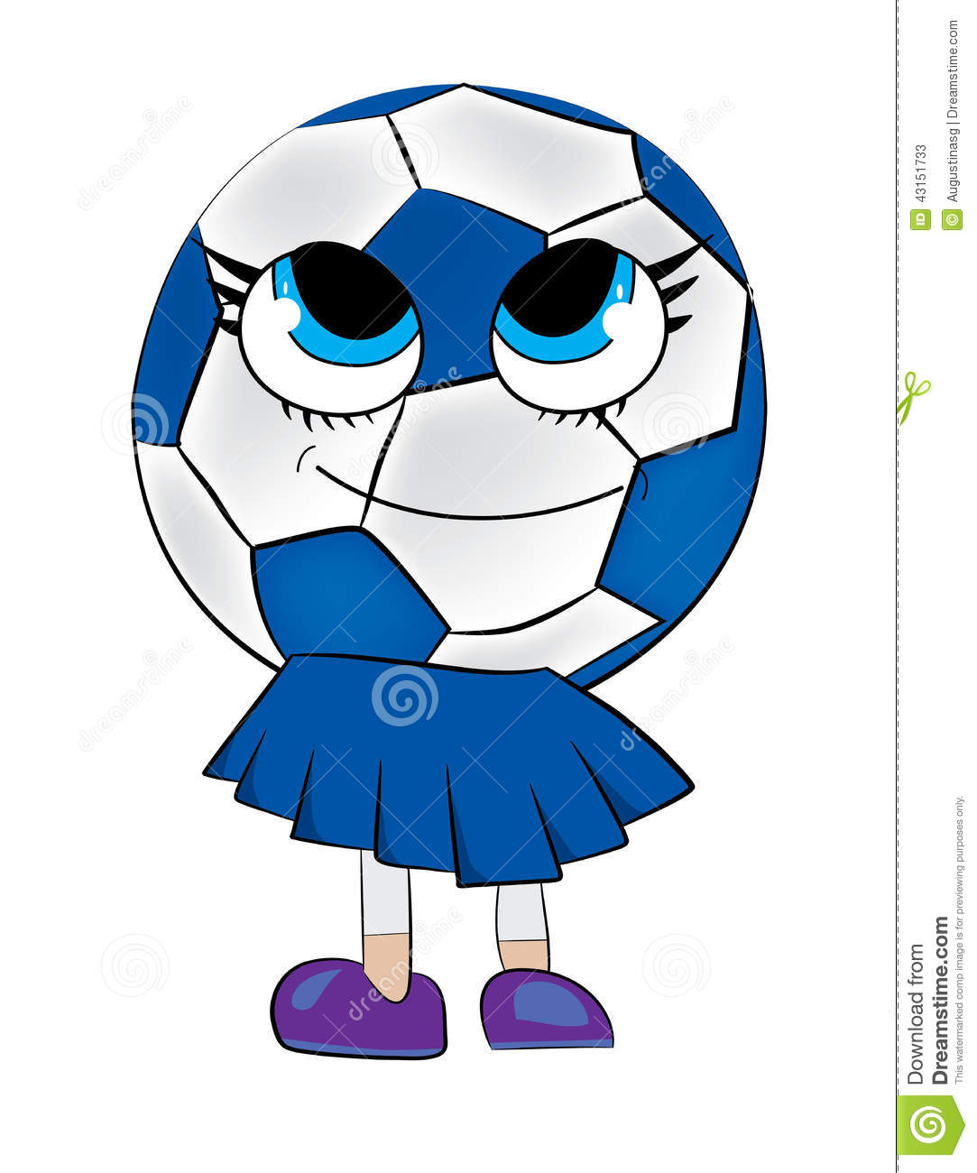 Vector illustration of a cute soccer ball girl on white background.