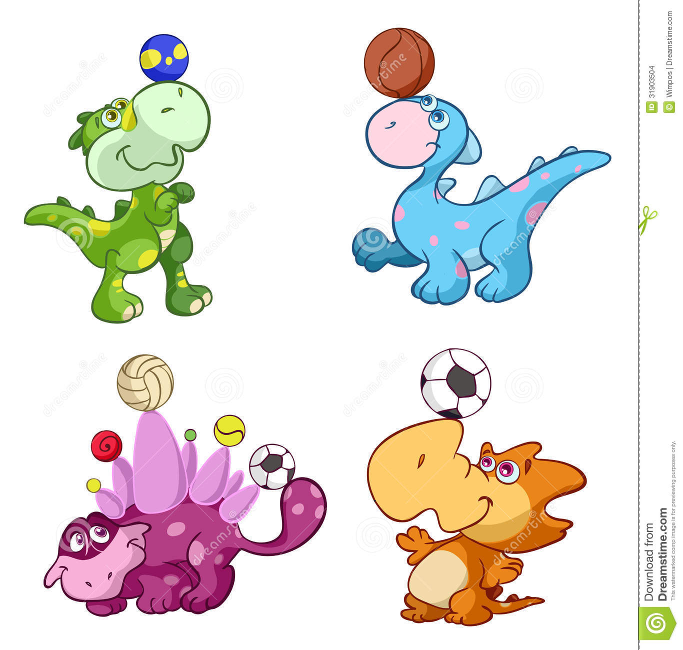Cute Sport Baby Dinos Playing With A Ball Stock Images - Image ...