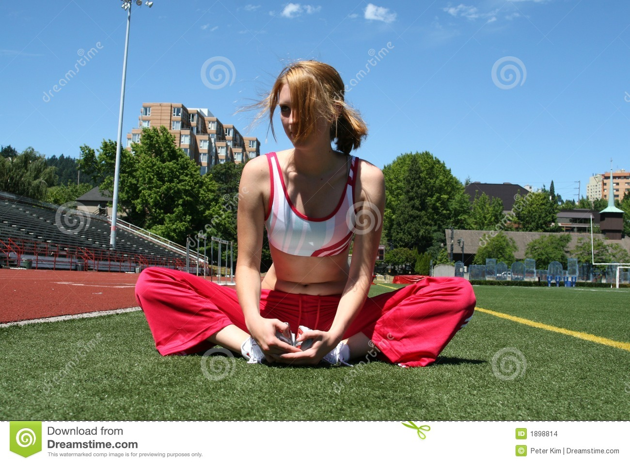Cute Sporty Girl stretching