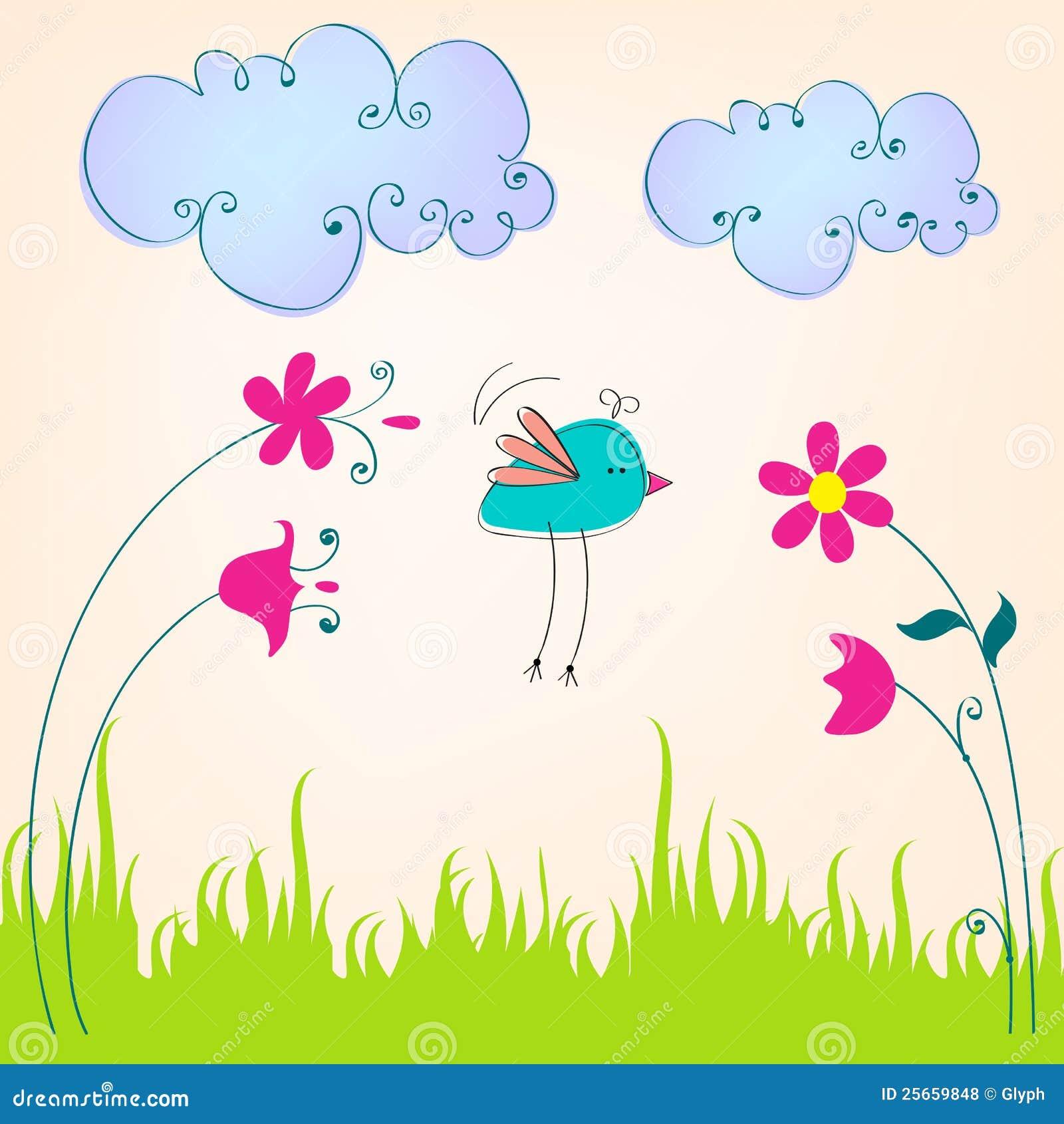 Cute Spring Bird Illustration Stock Vector - Image: 25659848