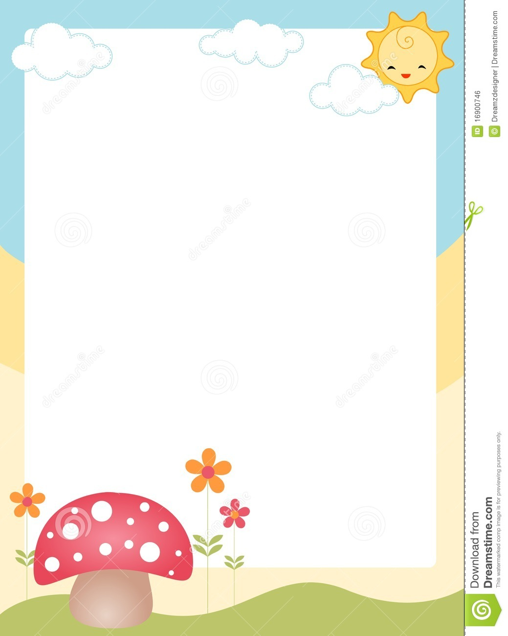 and cute mushroom spring/ summer page border. By Dreamzdesigner