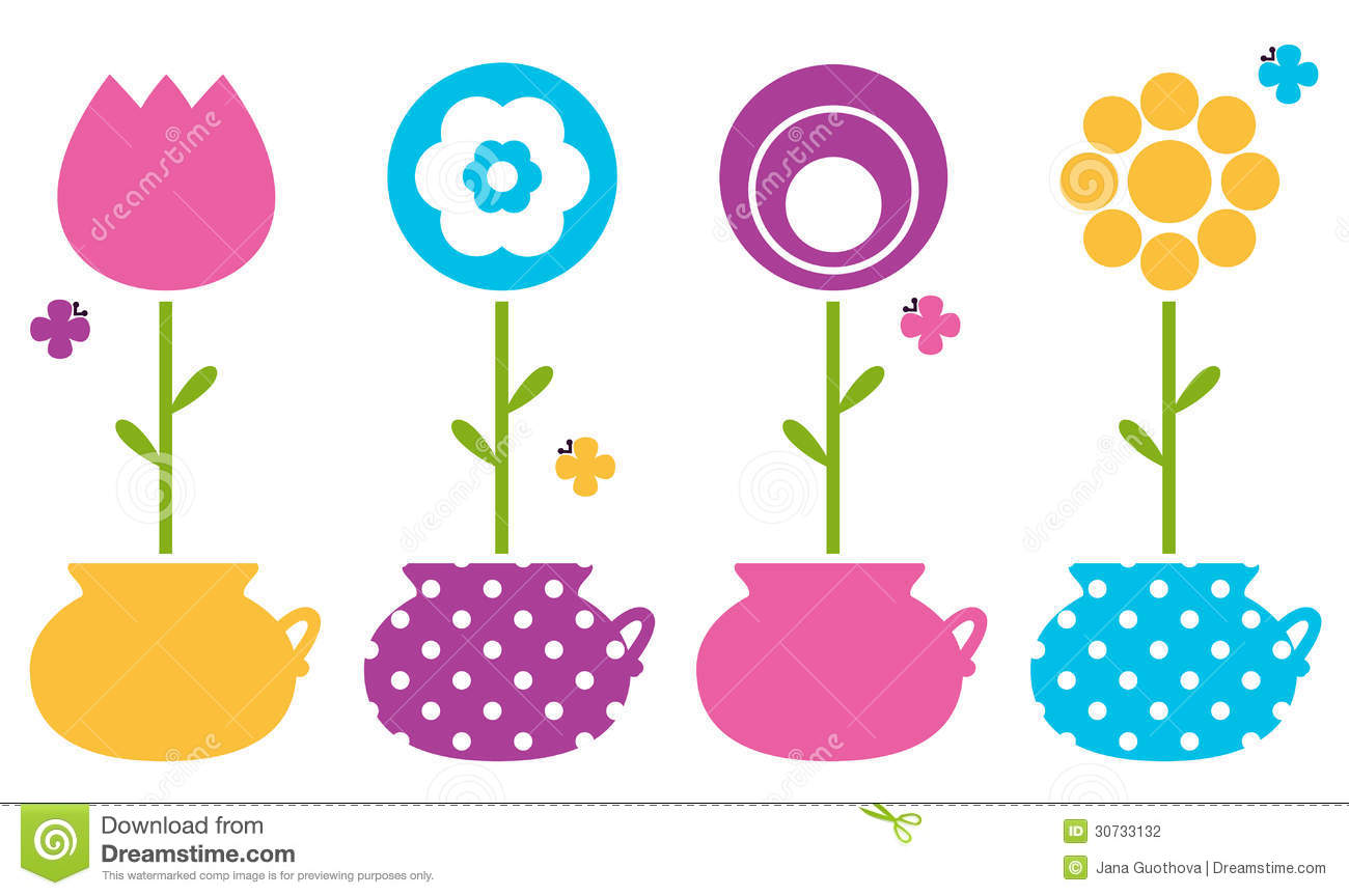 cute spring flowers in flower pots stock photography image 30733132