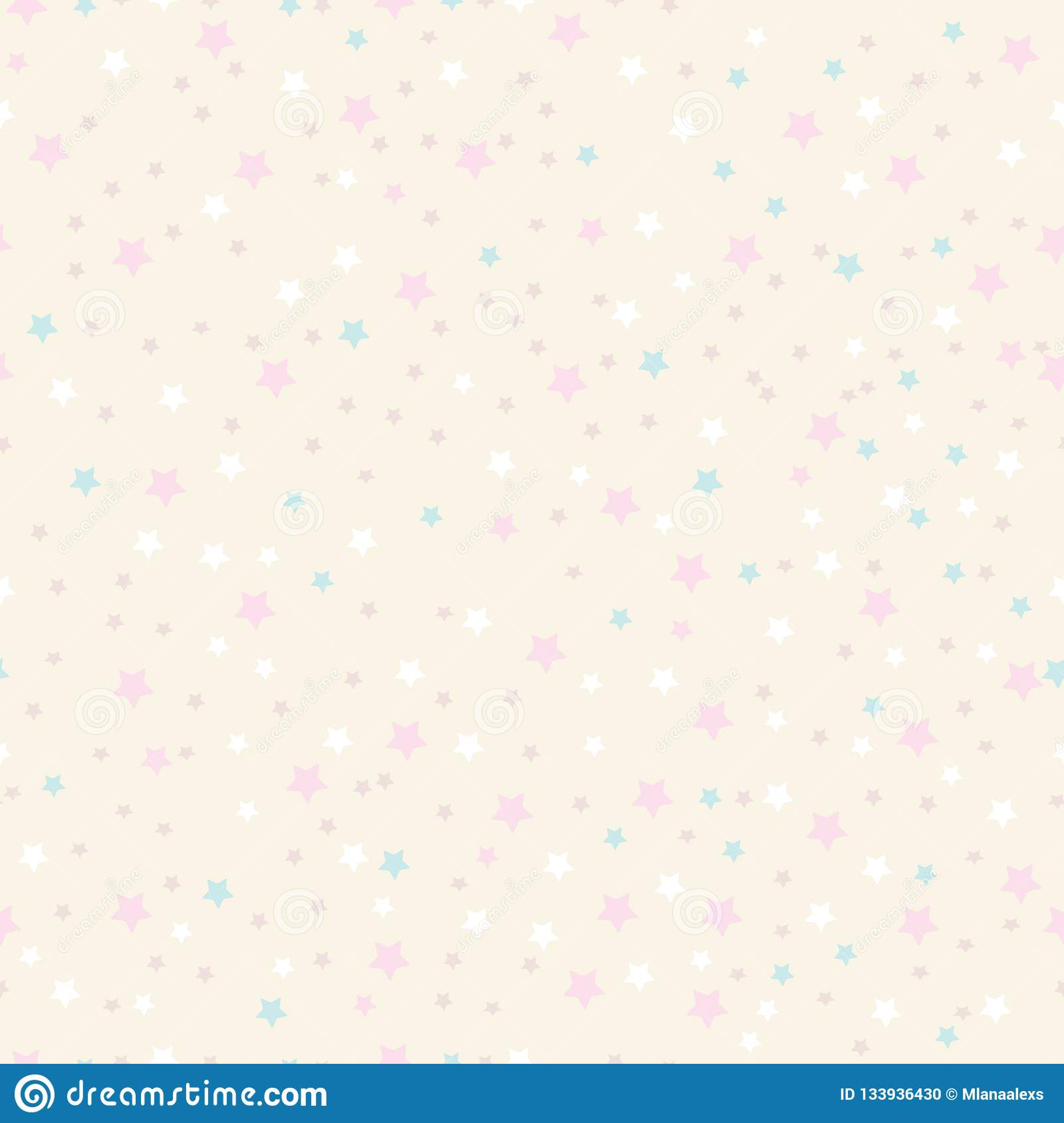 Cute stars pattern. Night sky in pastel colors