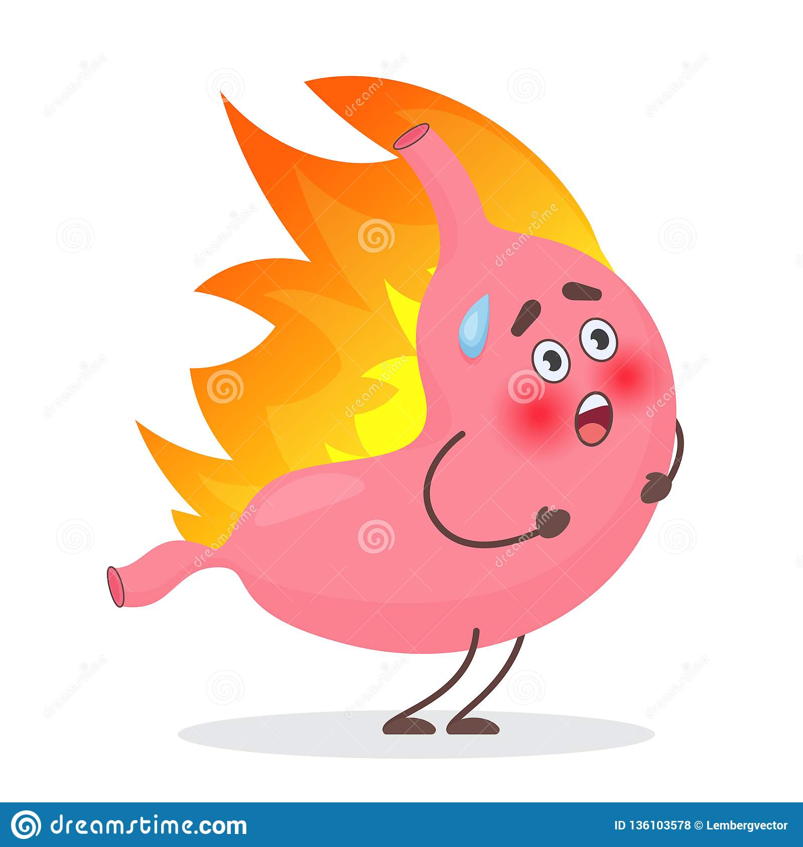 Cute Stomach emotions character in fire. Gastritis and acid reflux, indigestion and stomach pain problems vector concept