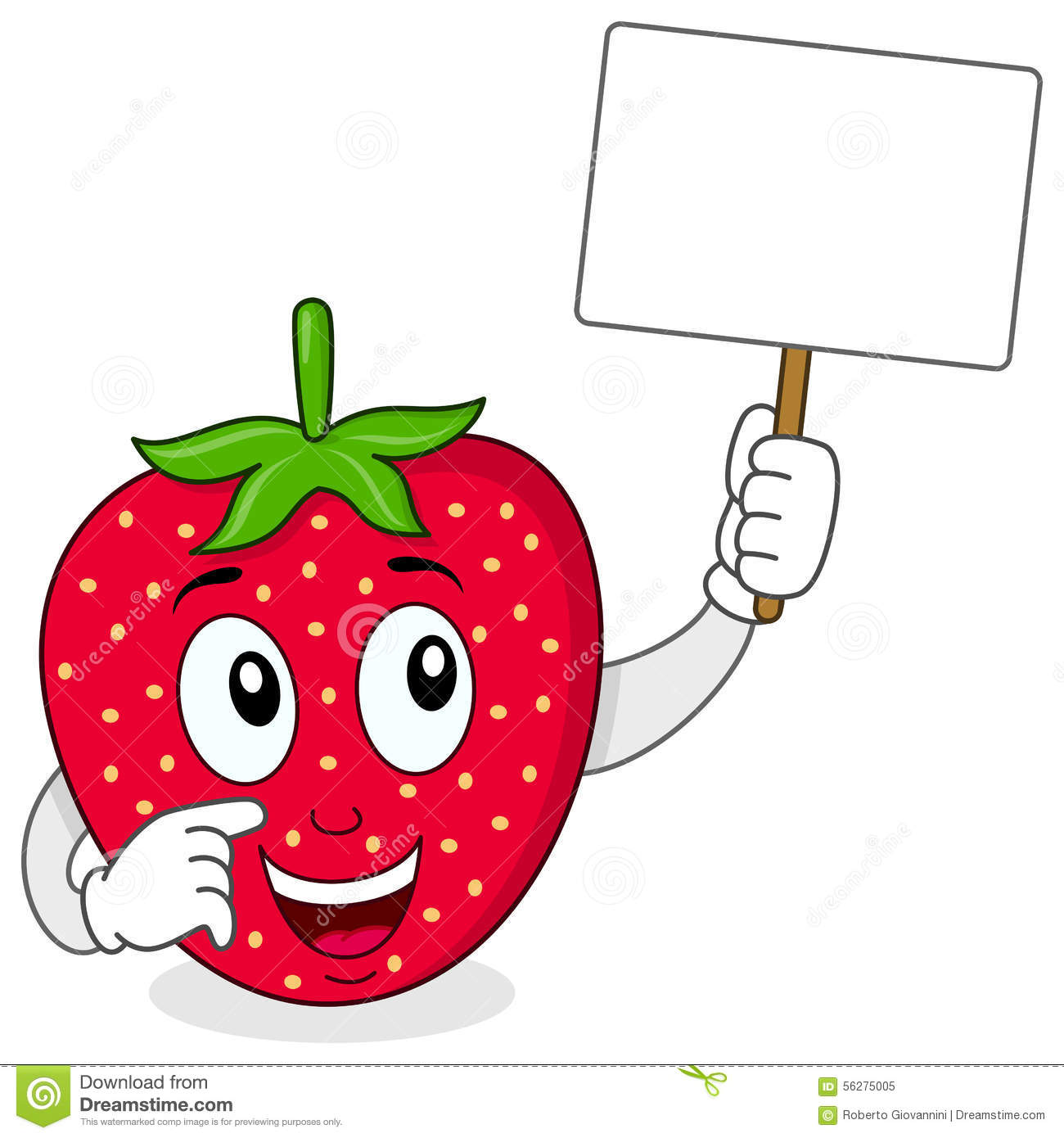 Cute Strawberry Holding A Blank Banner Stock Vector ...