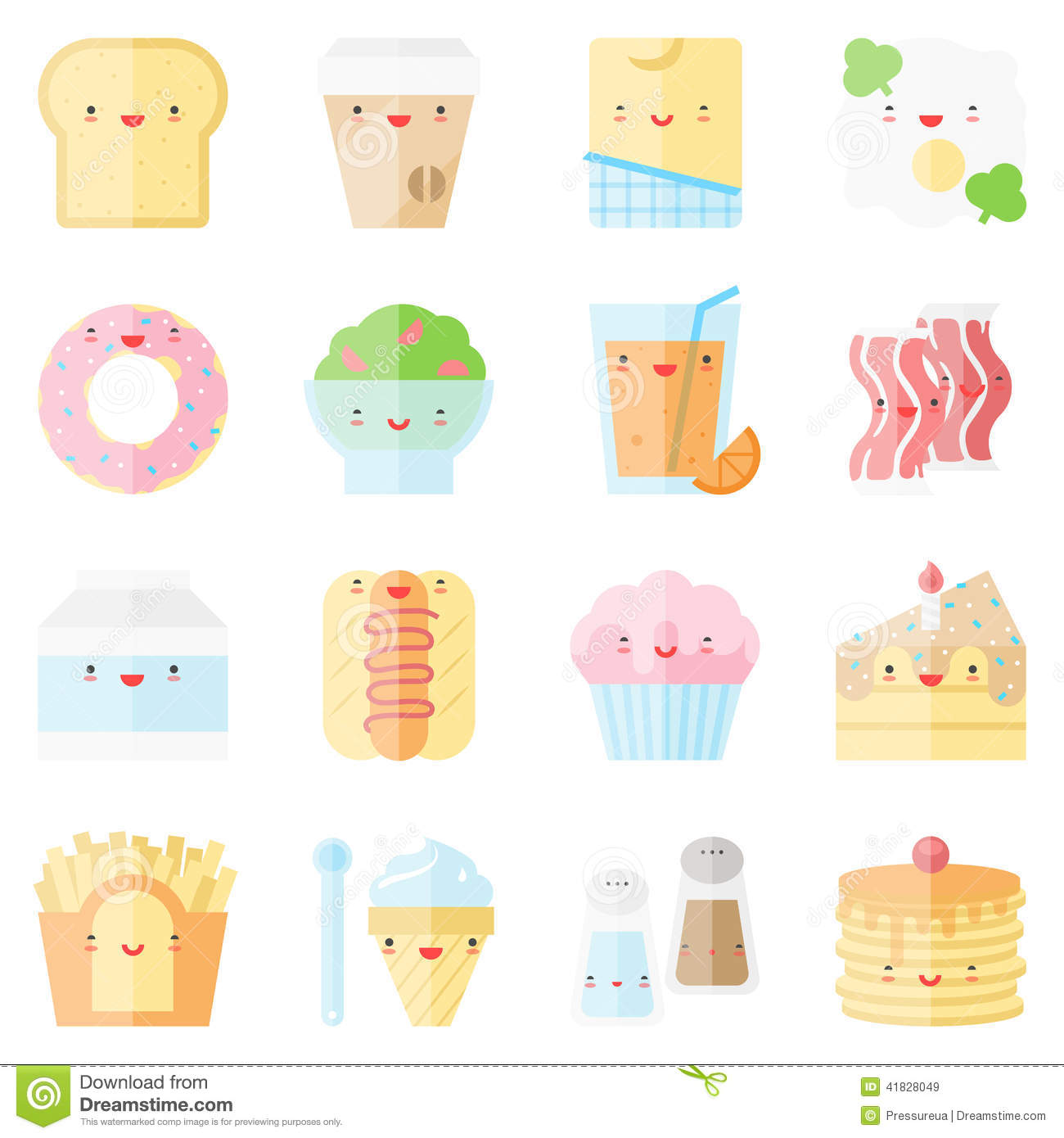 Cute stylish food flat icons stock vector image 41828049 - Stylish cooking ...