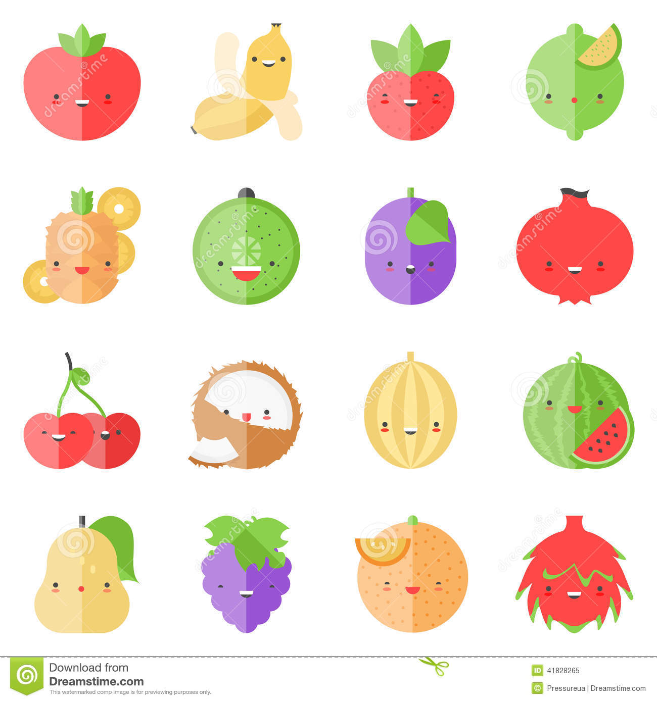 Set of popular tasty fruits in cute modern kawaii style flat design