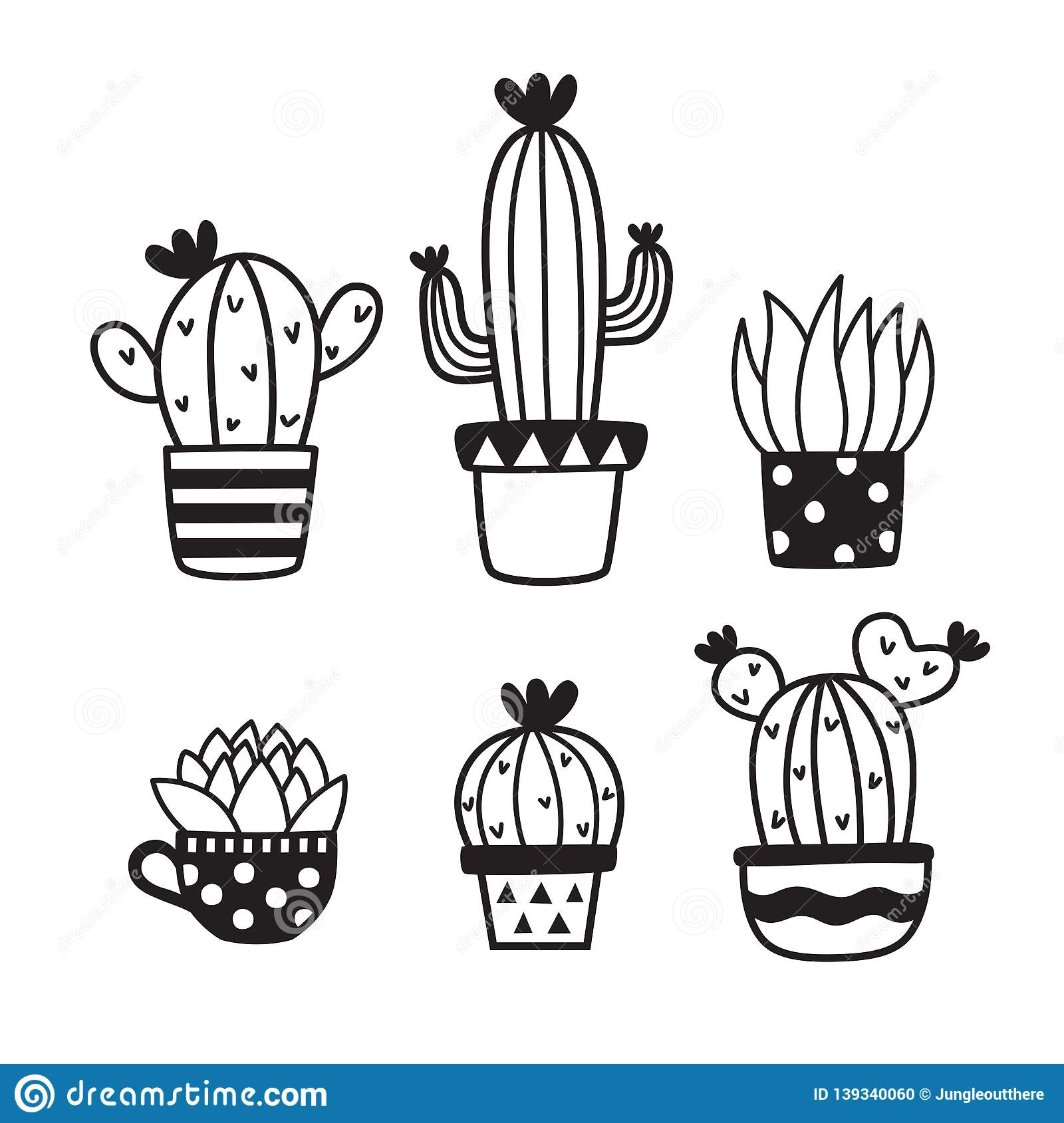 Cute Succulent And Cactus Hand Drawn Doodles Sketch Vector Illustration Stock Vector Illustration Of Simple Black 139340060