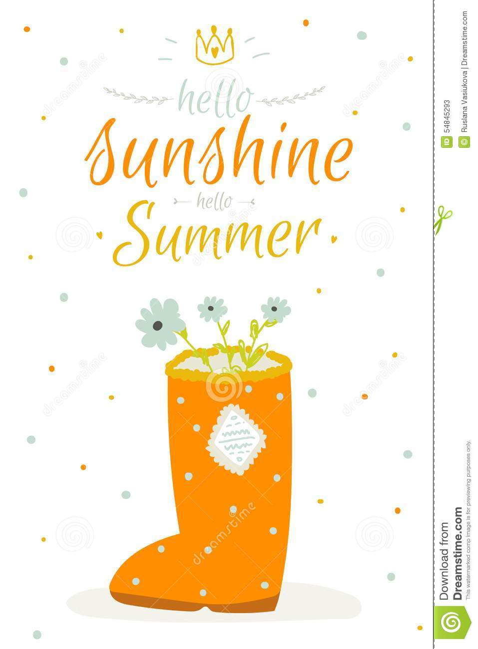 Cute Summer Card With Character Vector Stock Vector Illustration