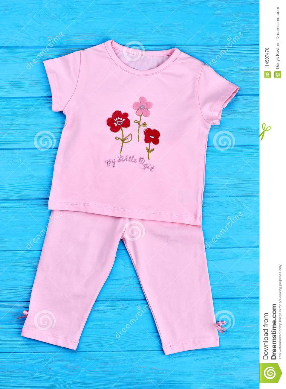 a46acb44340d Cute Summer Cotton Suit For Baby Girl. Stock Photo - Image of ...