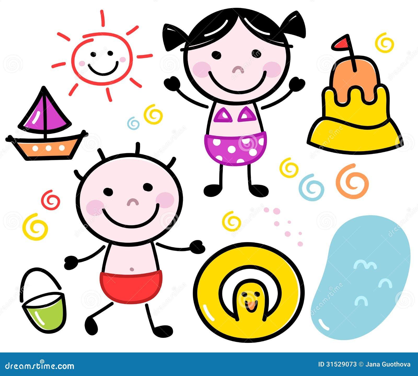 Stock Photos: Cute summer doodle kids set. Image: 31529073