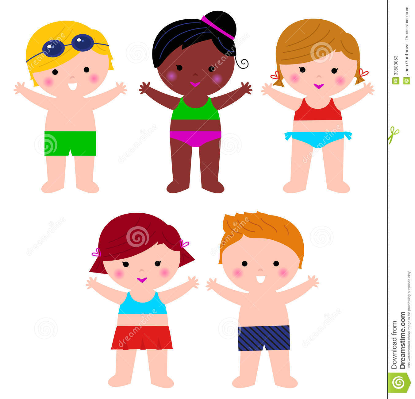 Cute Summer Kids In Swimsuit Set Stock Vector ...