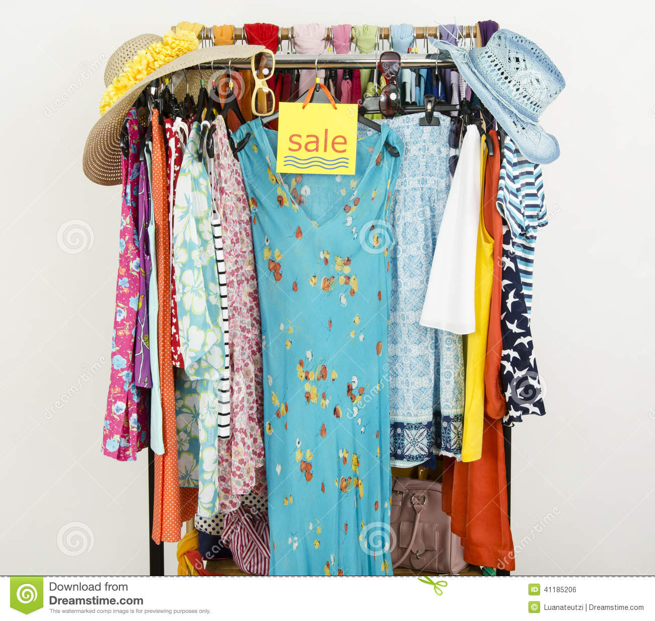 Cute Summer Outfits Displayed On Hangers With A Big Sale ...