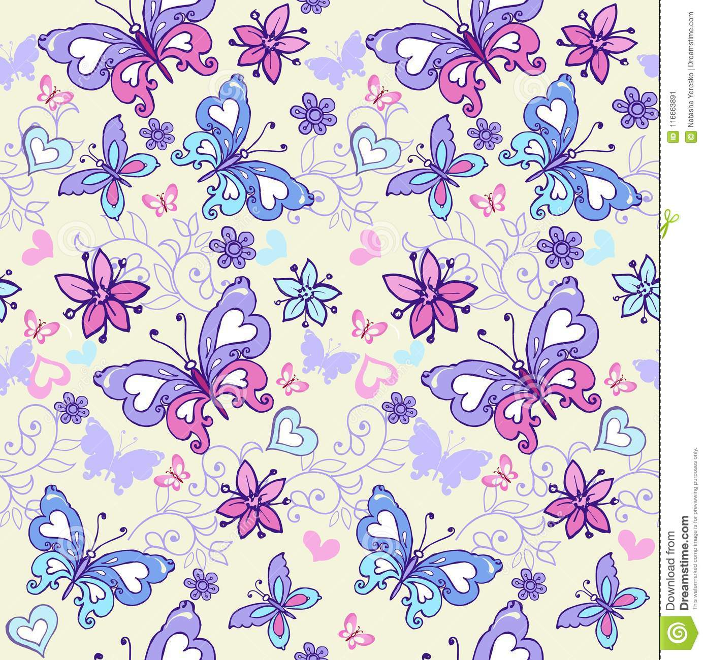 Cute summer seamless pattern with butterflies and hearts. Vintage flowers seamless ornament in blue and pink colors. Decorative or
