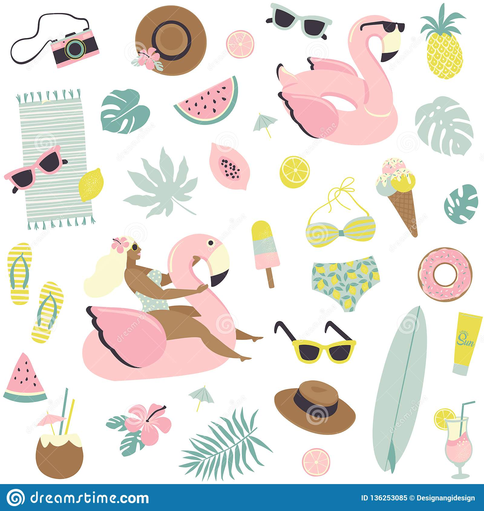 Cute summer seamless pattern fruits, drinks, ice cream, sunglasses, palm leaves and flamingo inflatable swimming pool