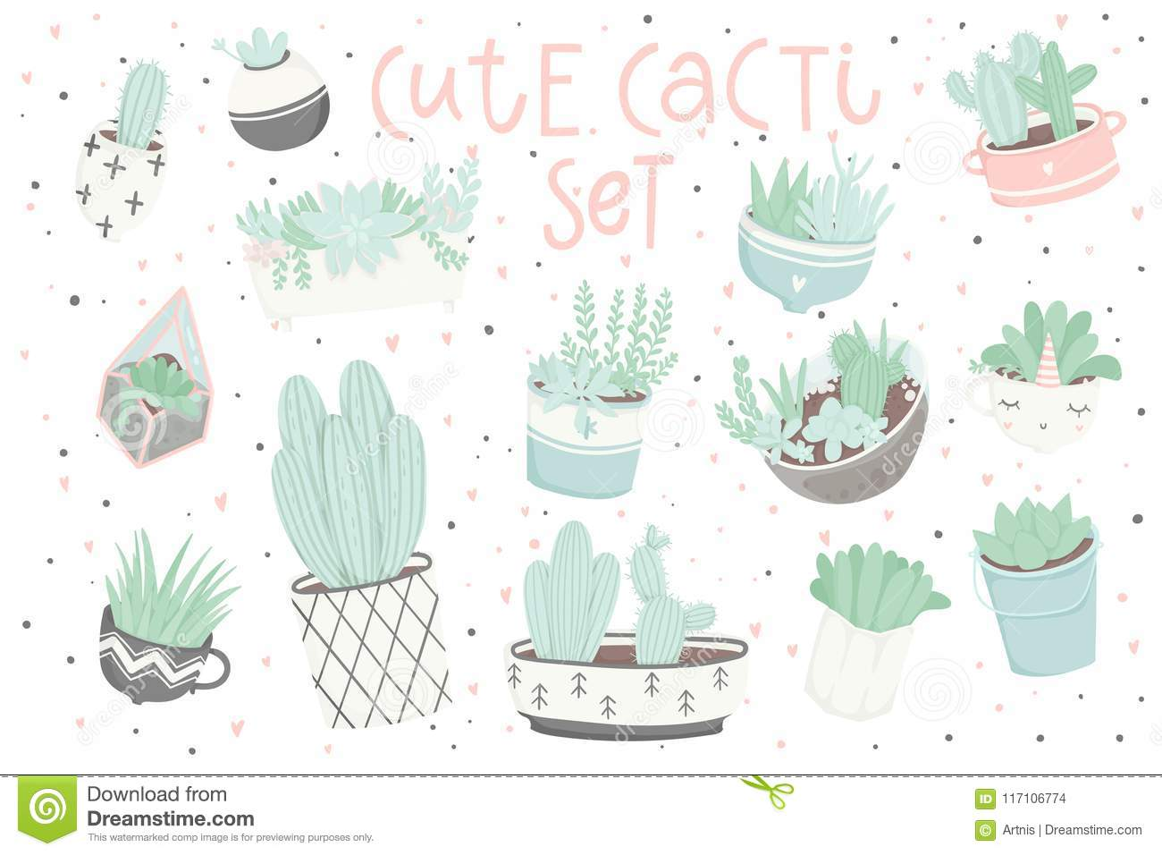 Cute Summer Sticker Set With Cacti And Succulents Stock Vector Illustration Of Home Card 117106774
