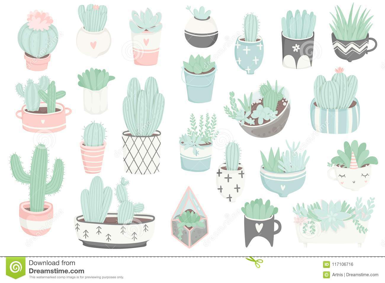 Cute Summer Sticker Set With Cacti And Succulents Stock Vector Illustration Of Design Pastel 117106716