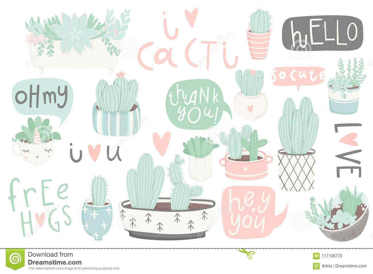 Cute Summer Sticker Set With Cacti And Succulents Stock Vector Illustration Of Background Green 117106770