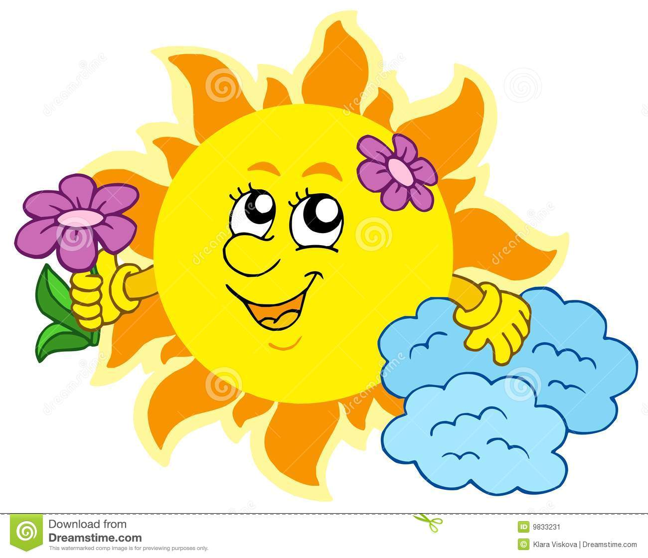 Cute Sun With Flower Stock Image Image 9833231