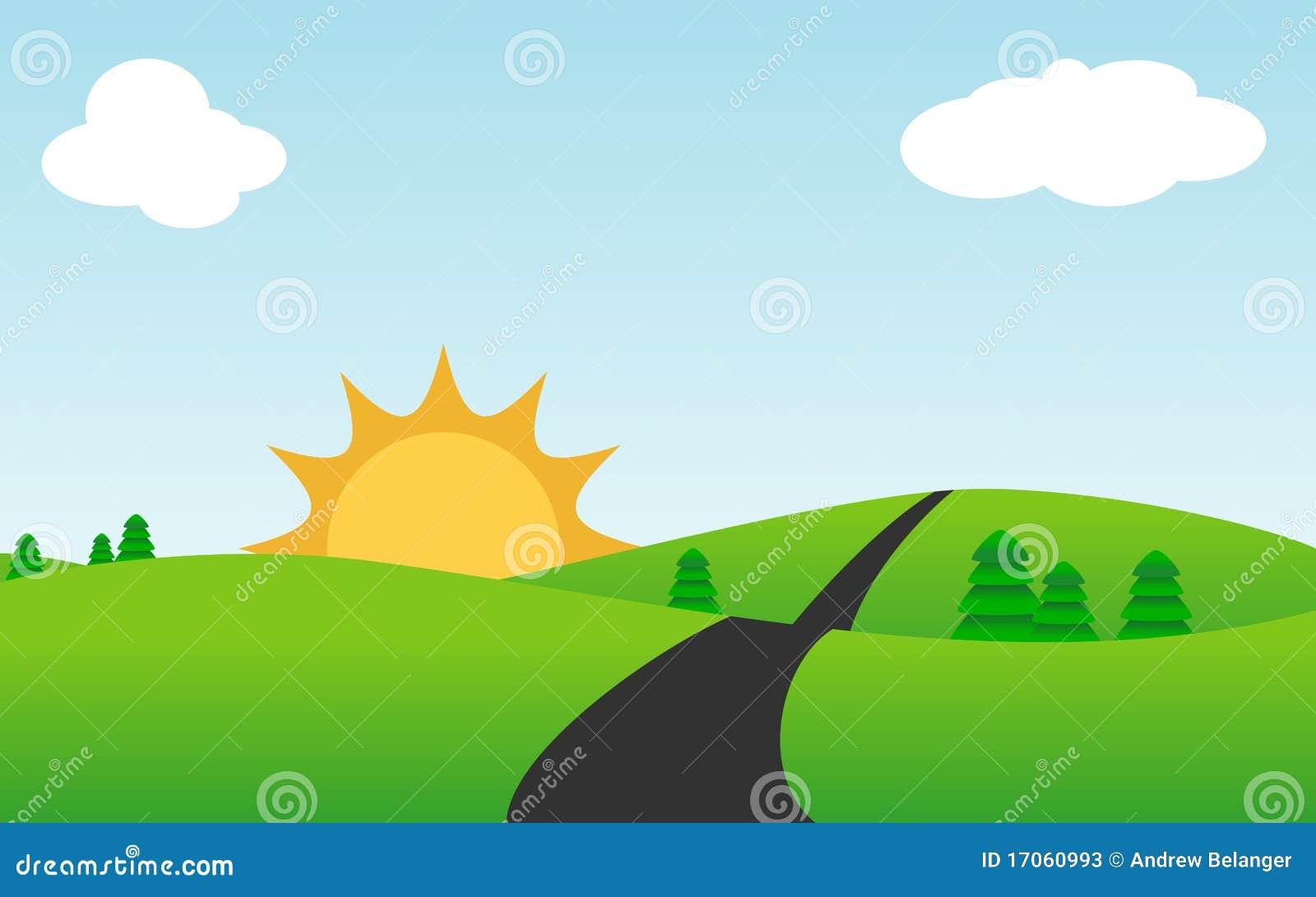 Cute Sunny Landscape Vector Stock Photos Image 17060993