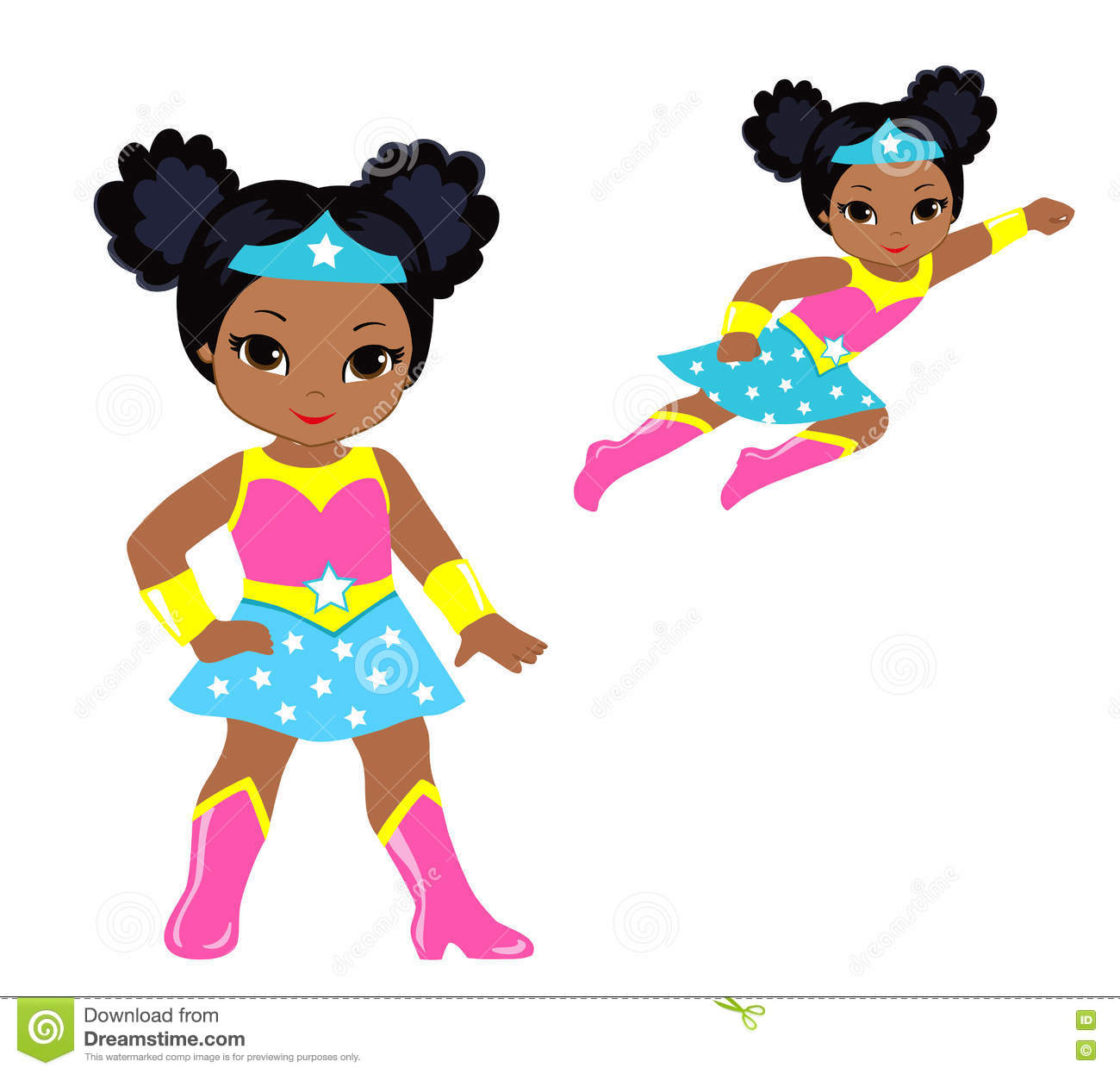 cute superhero girl vector clip art set stock vector illustration rh dreamstime com little girl superhero clipart girls super hero clipart