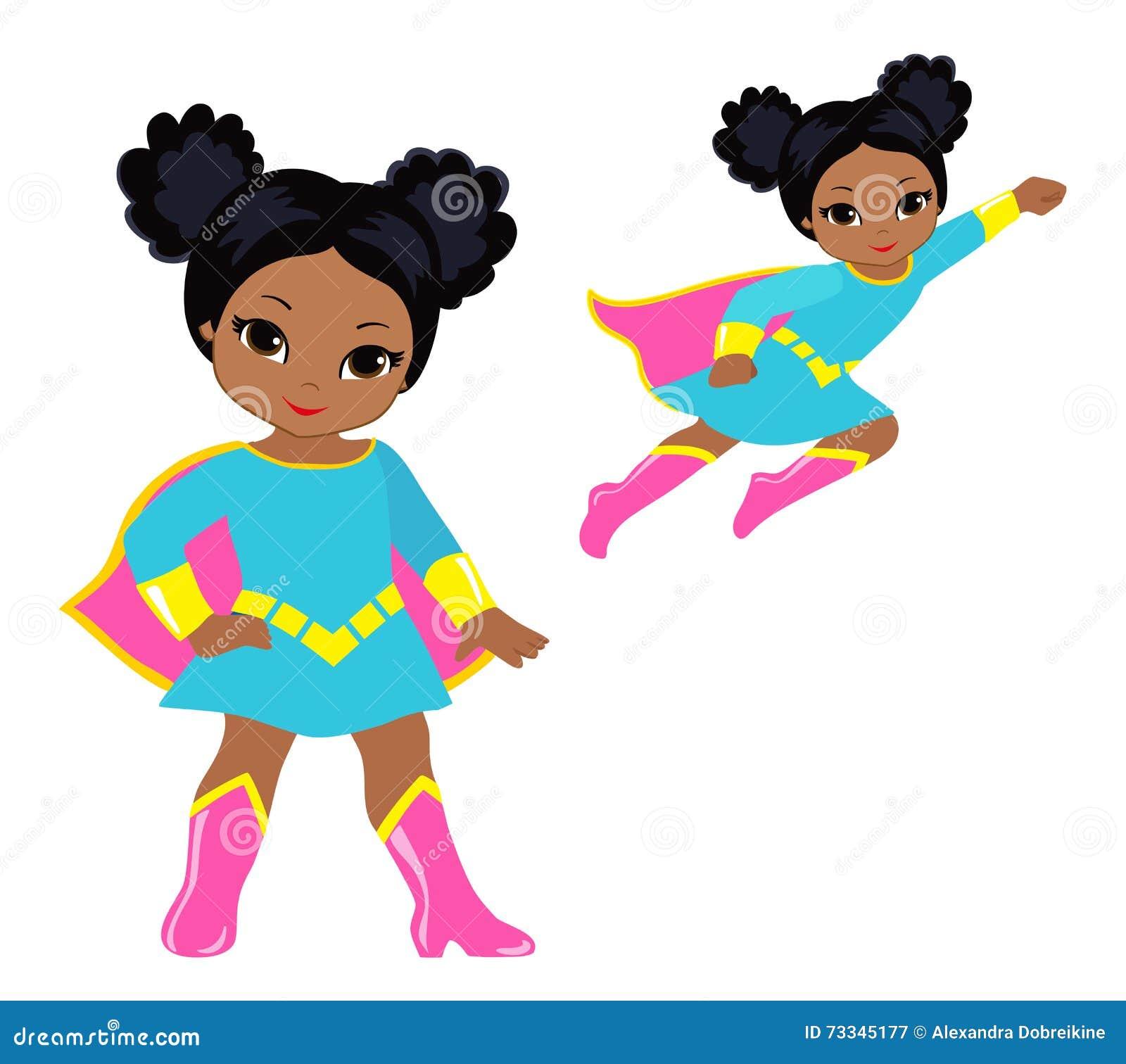 cute superhero girl vector clip art set stock vector illustration rh dreamstime com