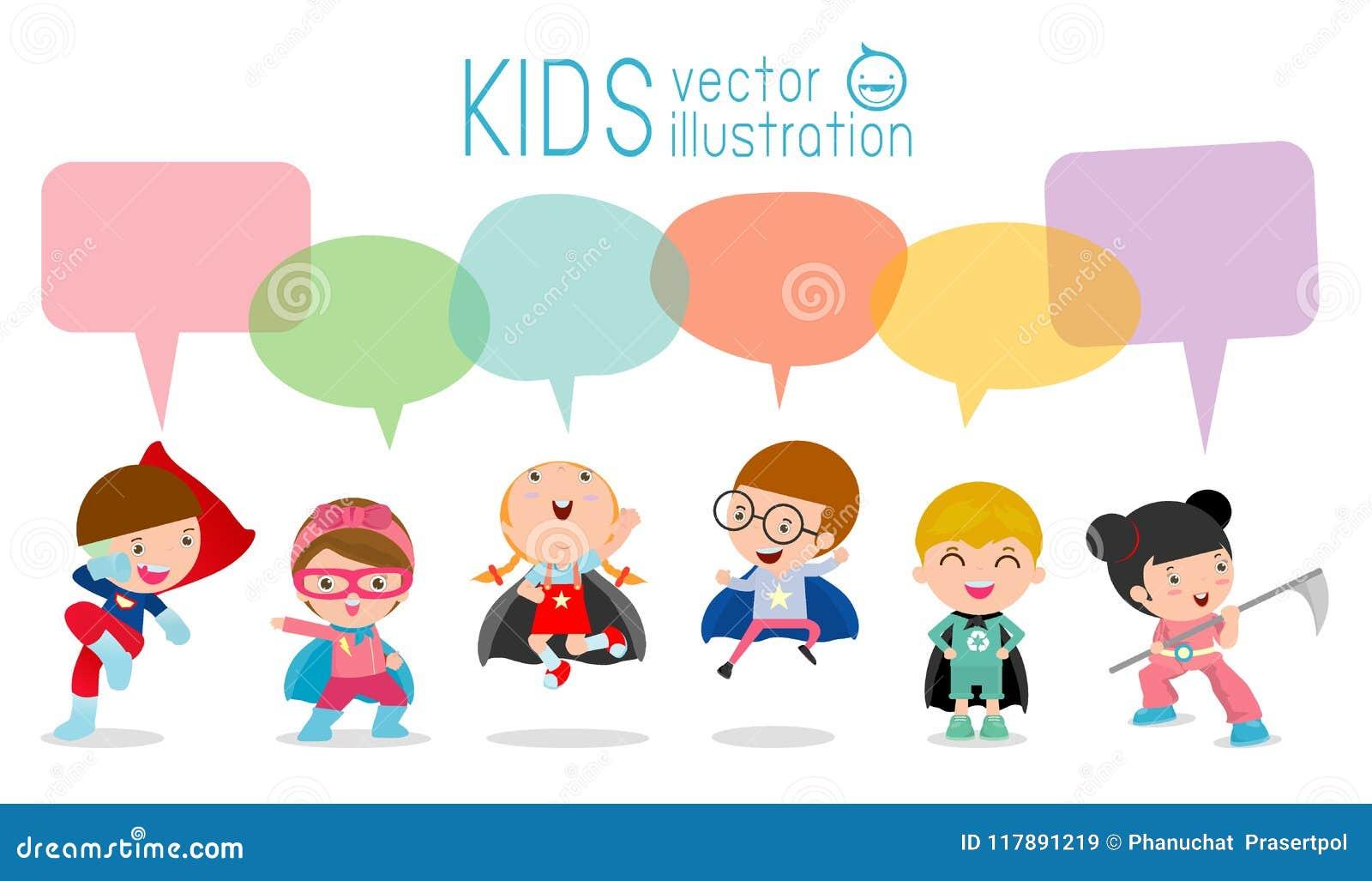 Cute Superhero Kids With Speech Bubbles, Set Of Superhero