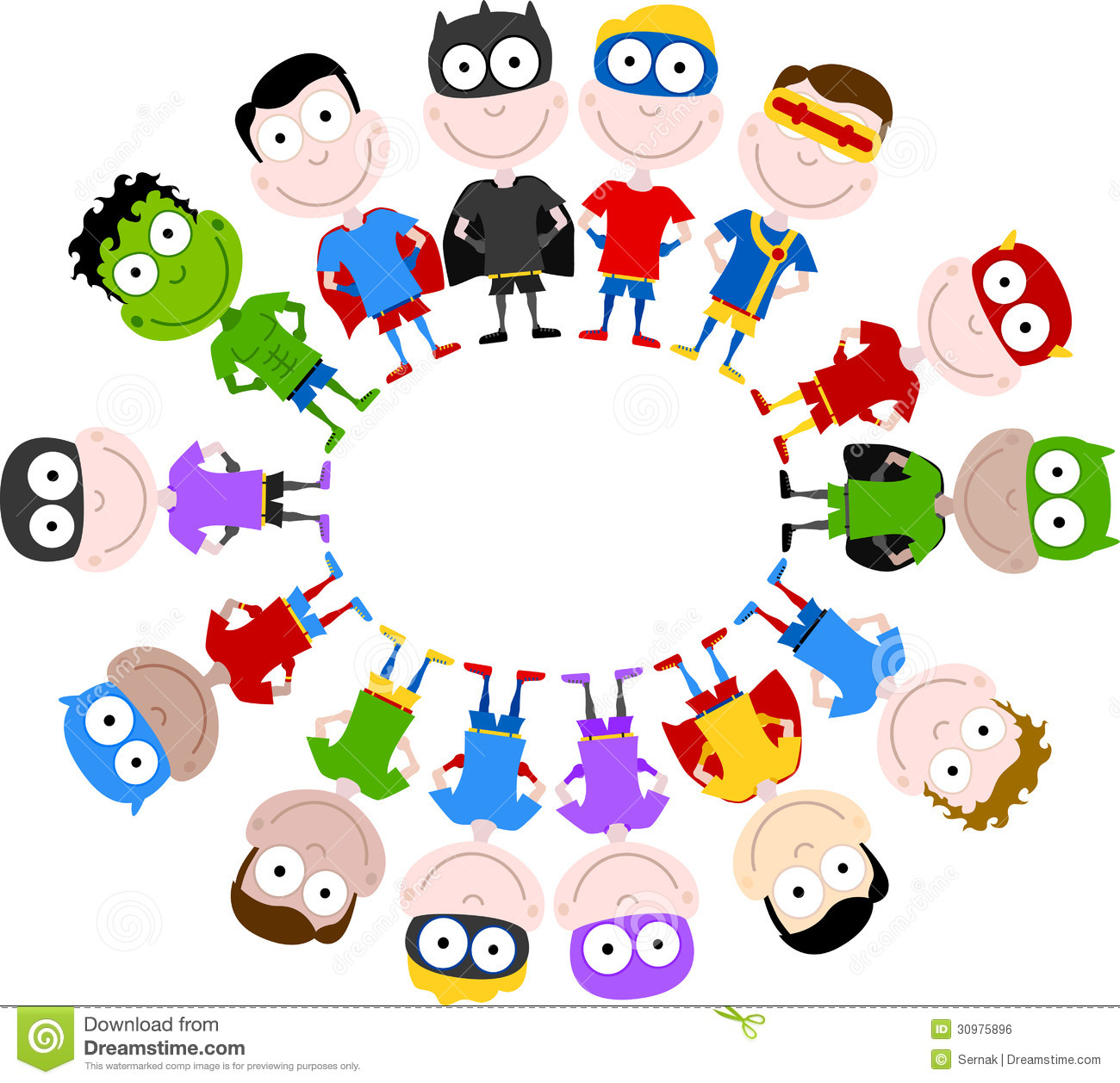 Cute superheroes circle stock vector  Illustration of