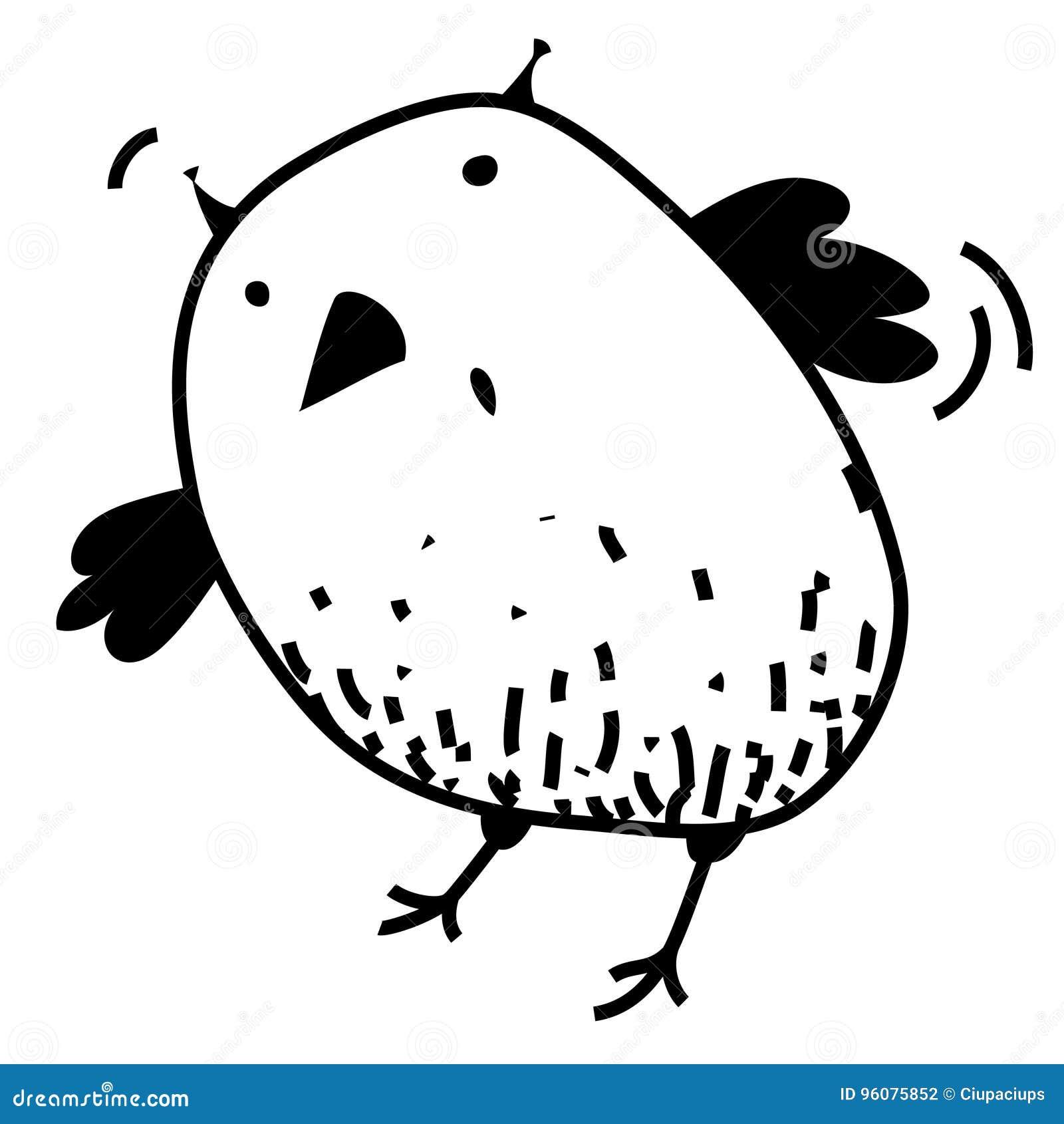 Cute Surprised Eagle Owl Colorless Contour Outline Funny Cartoon