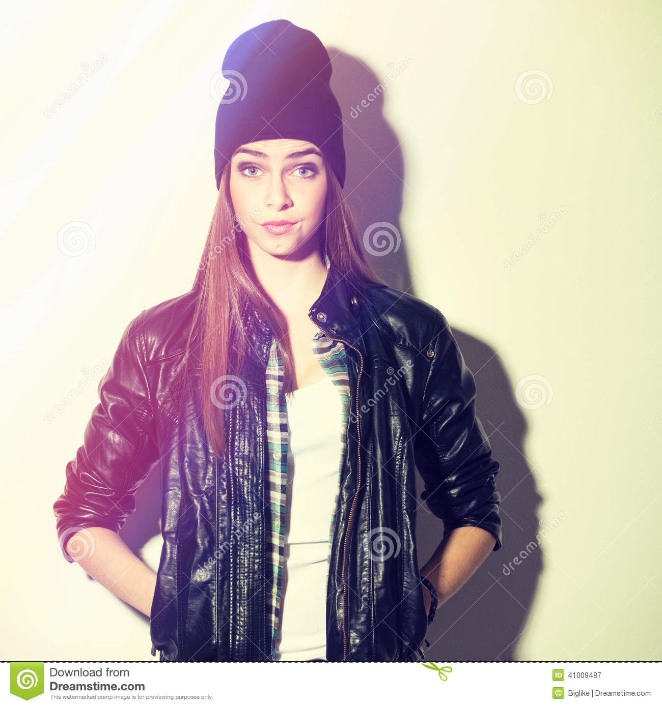 Cute Surprised Hipster Teenage Girl With Beanie Hat Stock Image