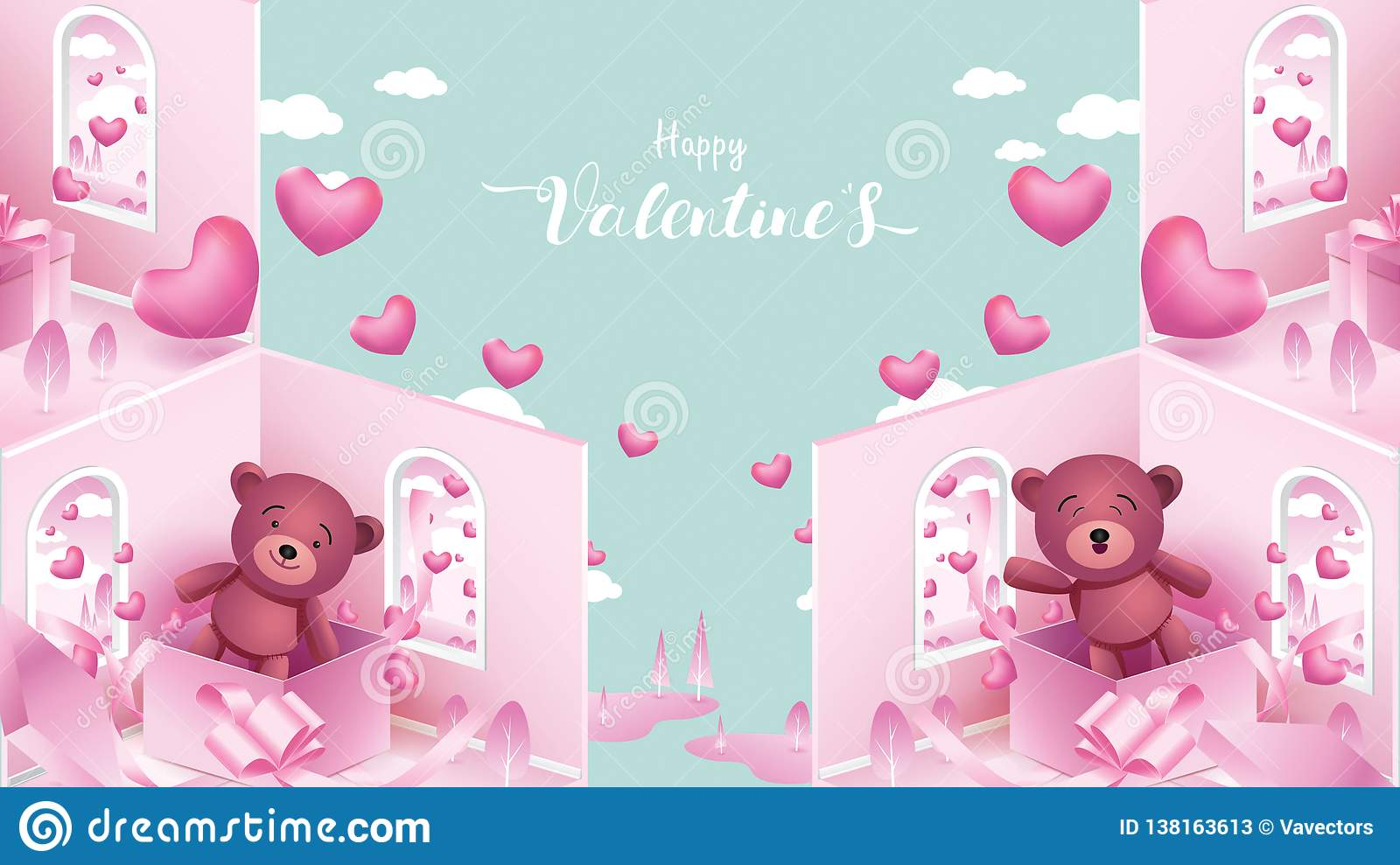 Cute And Sweet Elements In Shape Of Heart Box Of Gift Teddy Bear