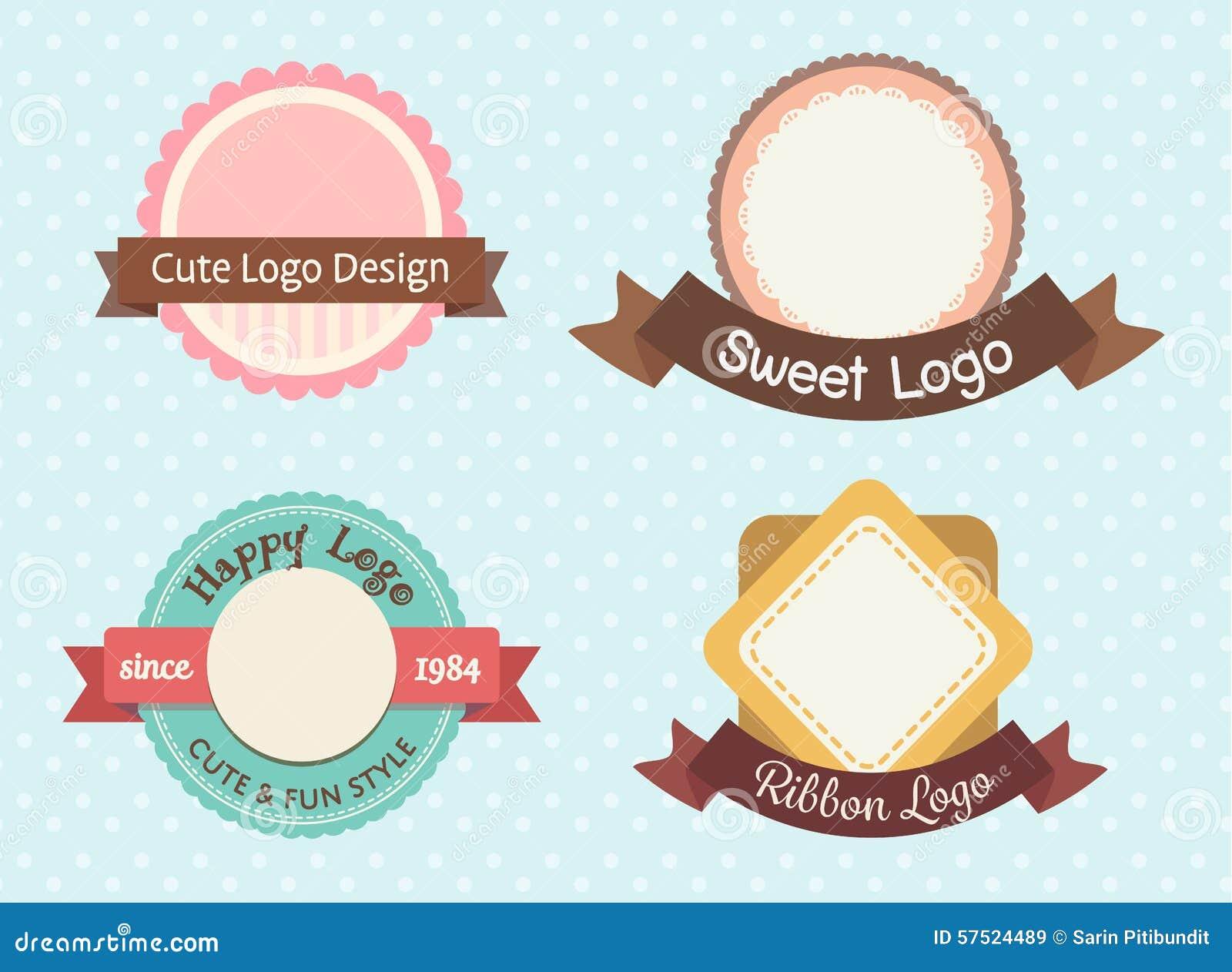 cute sweet pastel vintage premium logo label template set 57524489