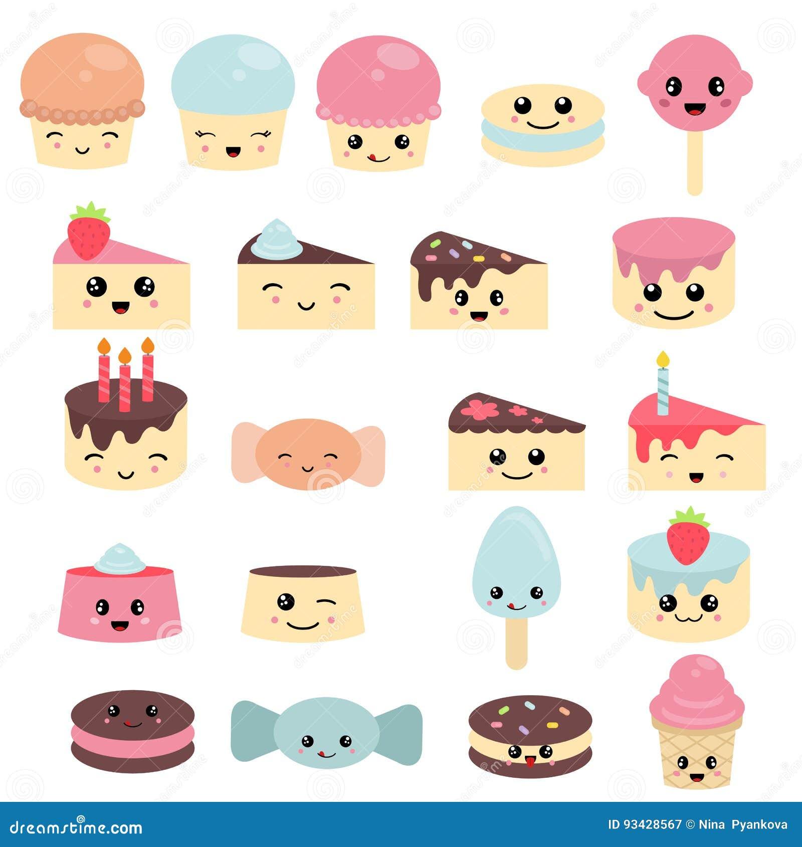 Candy Kawaii Food Characters Cartoon Vector ...