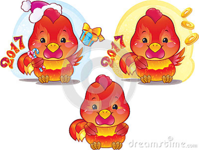 Cute Symbol Of Chinese Horoscope Fire Rooster Stock Vector
