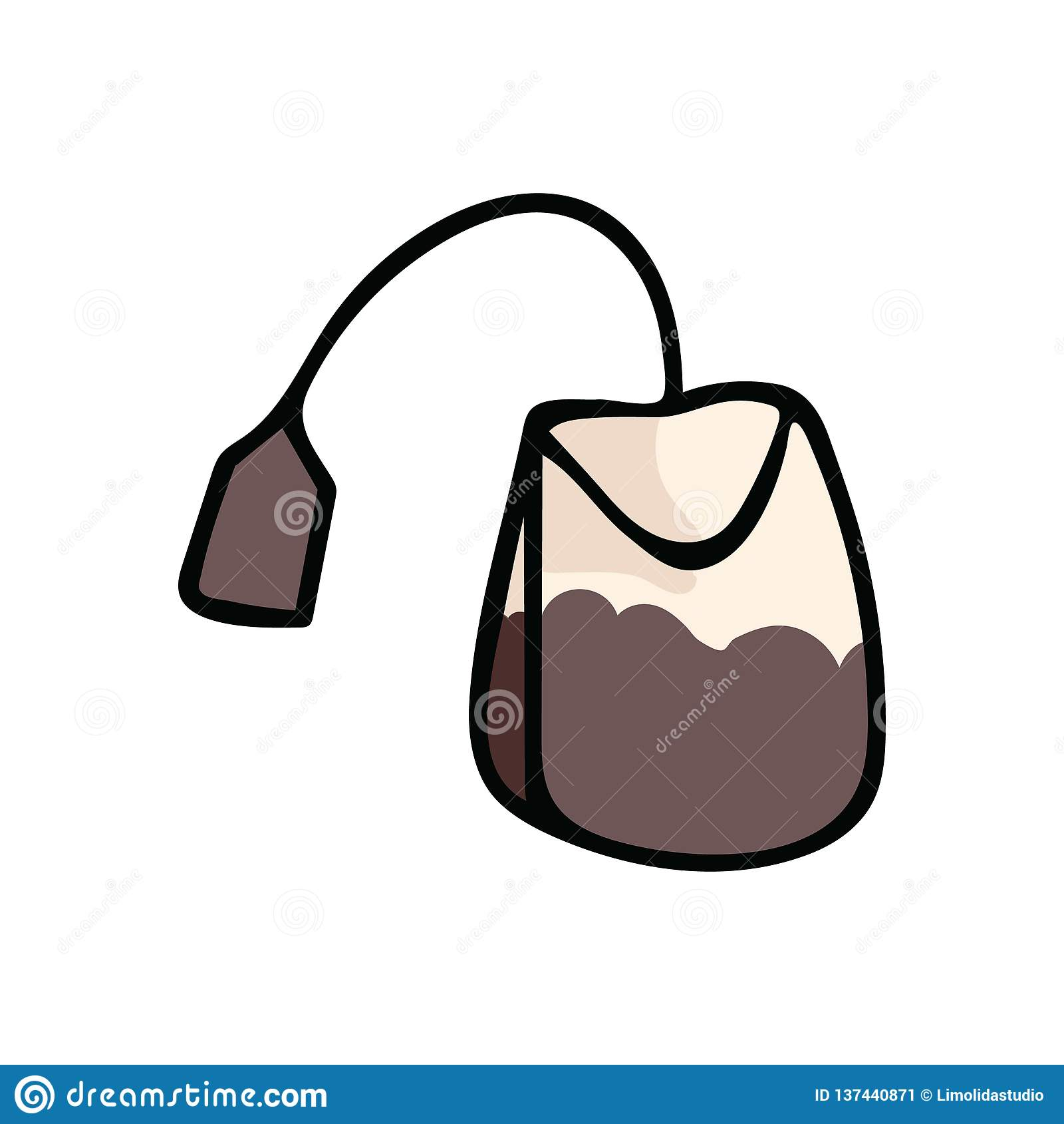 aa0ca47f9e Cute tea bag cartoon vector illustration motif set. Hand drawn hot drink  elements clipart for kitchen blog