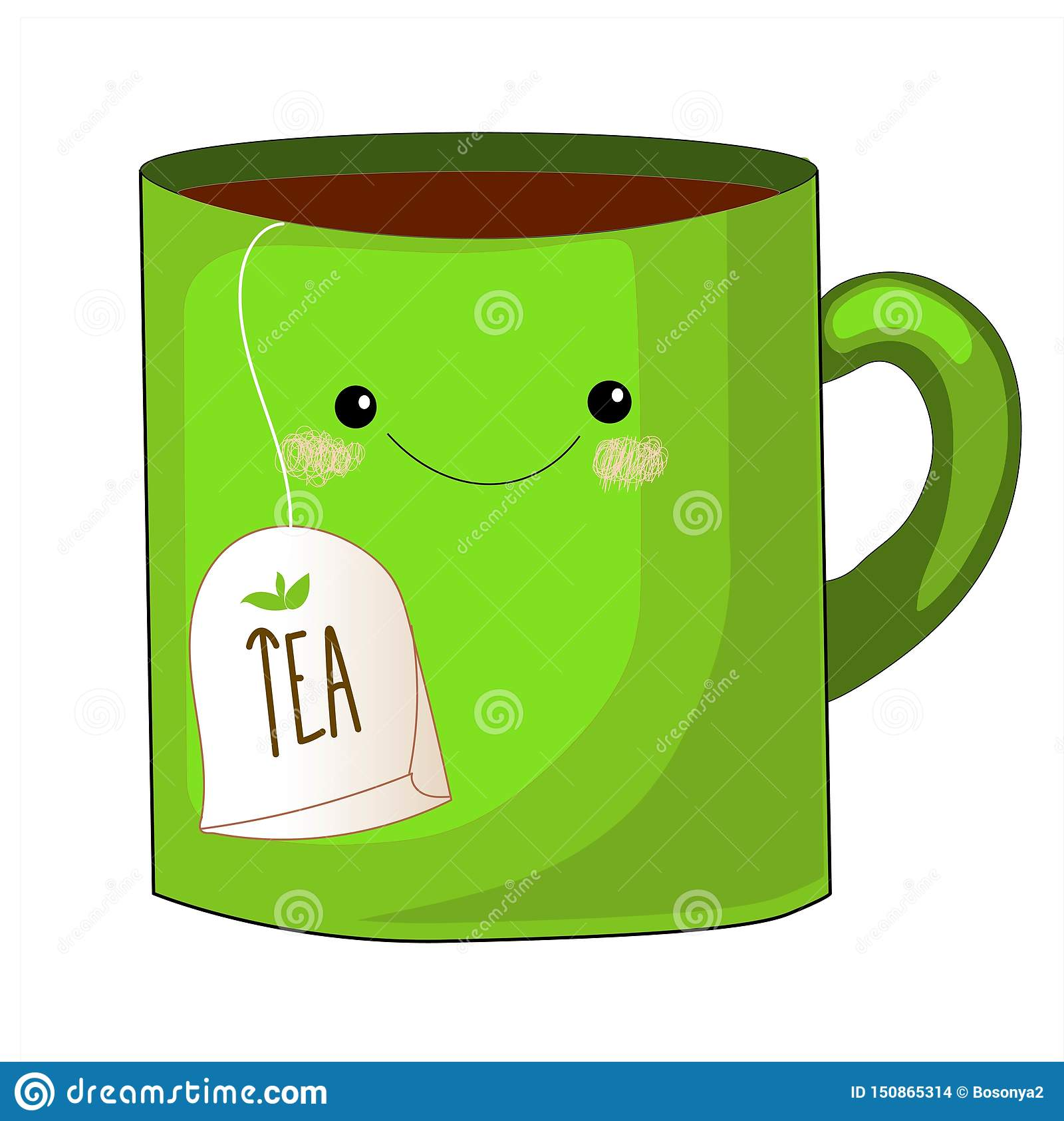 Cute tea cup character.Sweet teabag with cute faces. Emoji doodle objects.Cute tea bag set. Cup emoji set with cheeks and eyes.