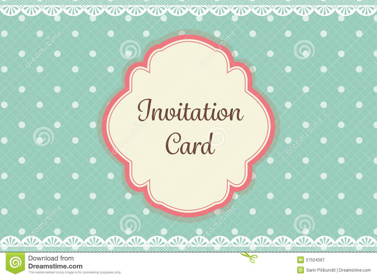 cute teal polka dot with lace elegant background invitation card
