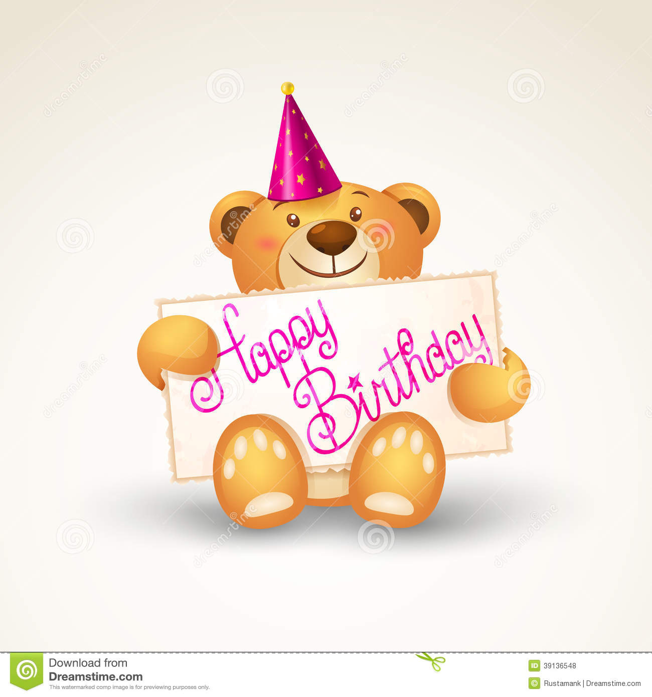 Cute Teddy Bear With A Banner Template Greeting Card