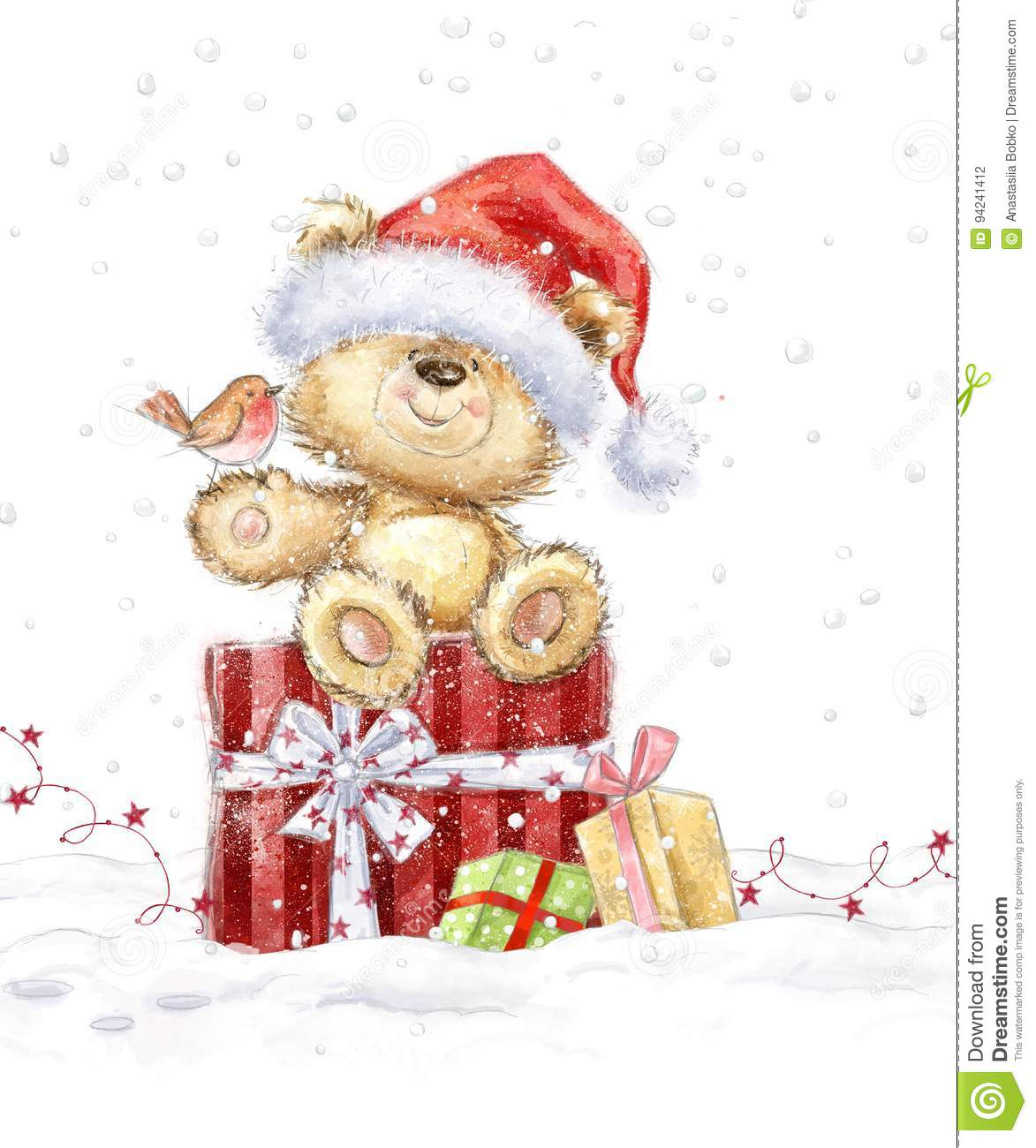 Cute teddy bear with christmas gifts in the Santa hat.