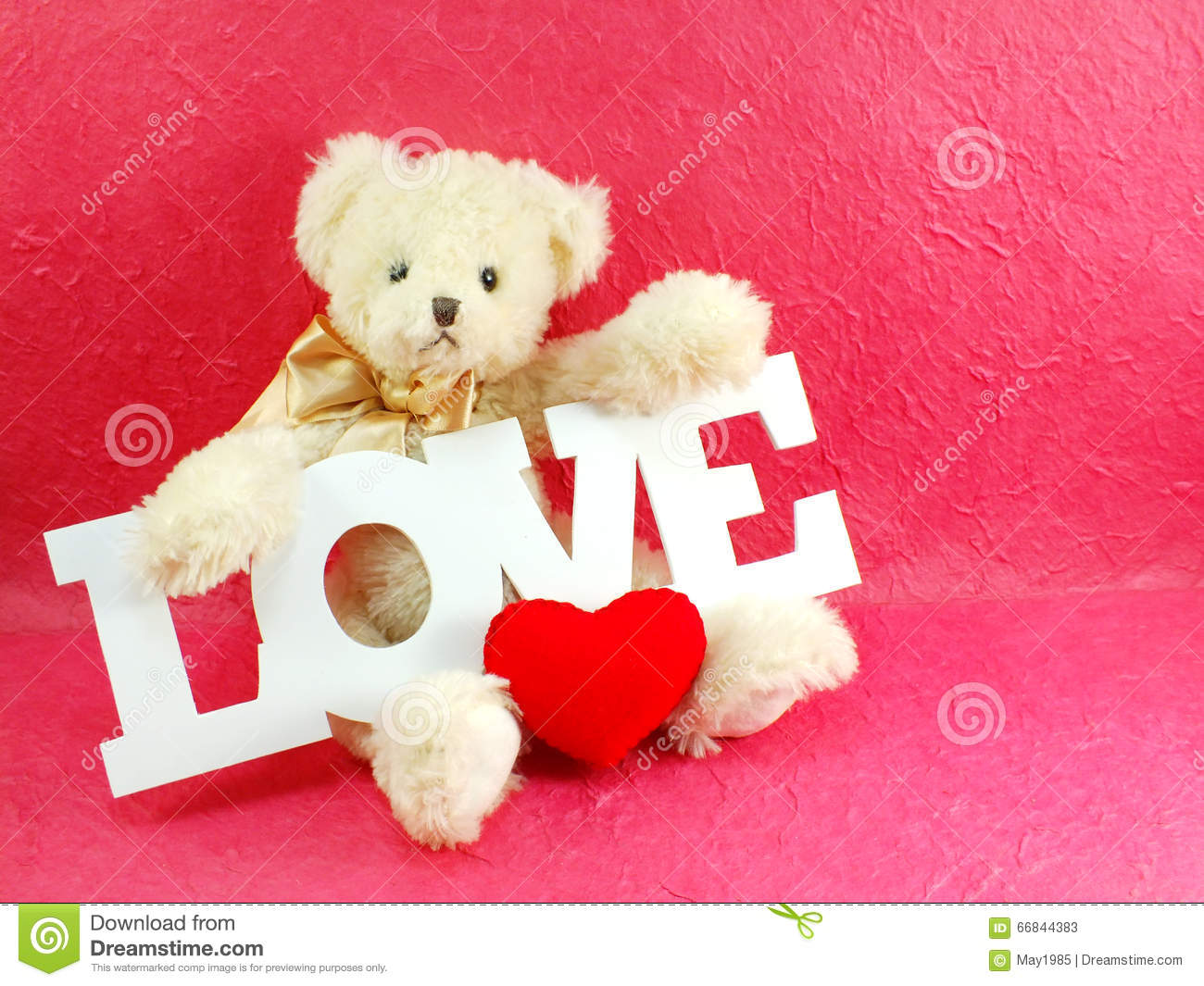 cute teddy bear concept valentine day on pink background stock image